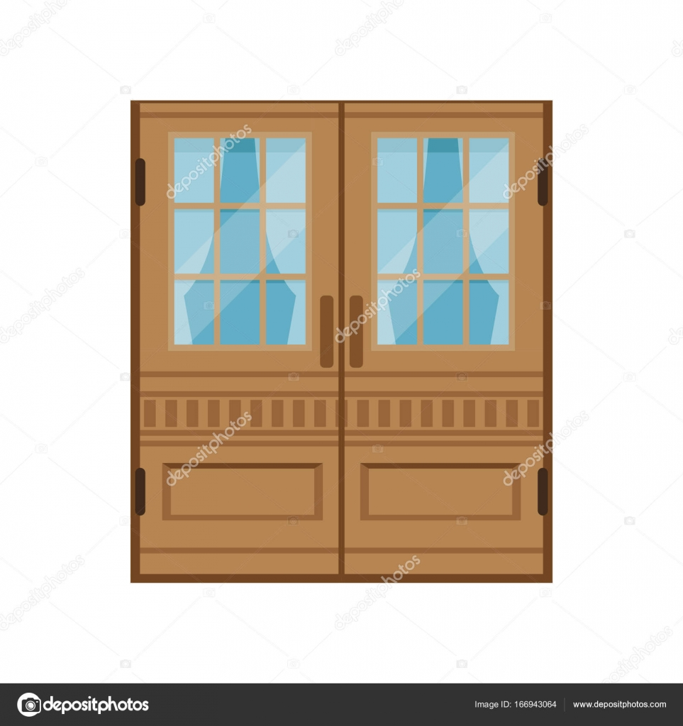 Classic double wooden doors, closed elegant front door vector ...