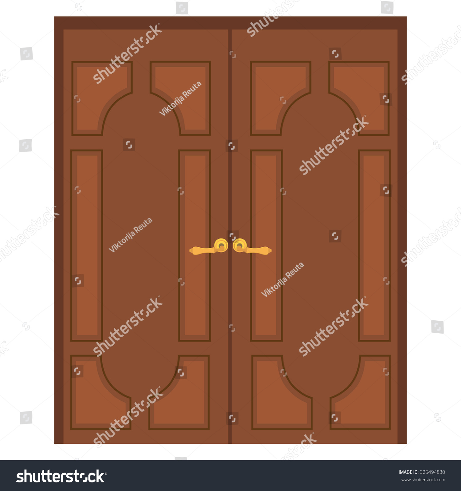 Raster Illustration Old Wooden Double Door Stock Illustration ...