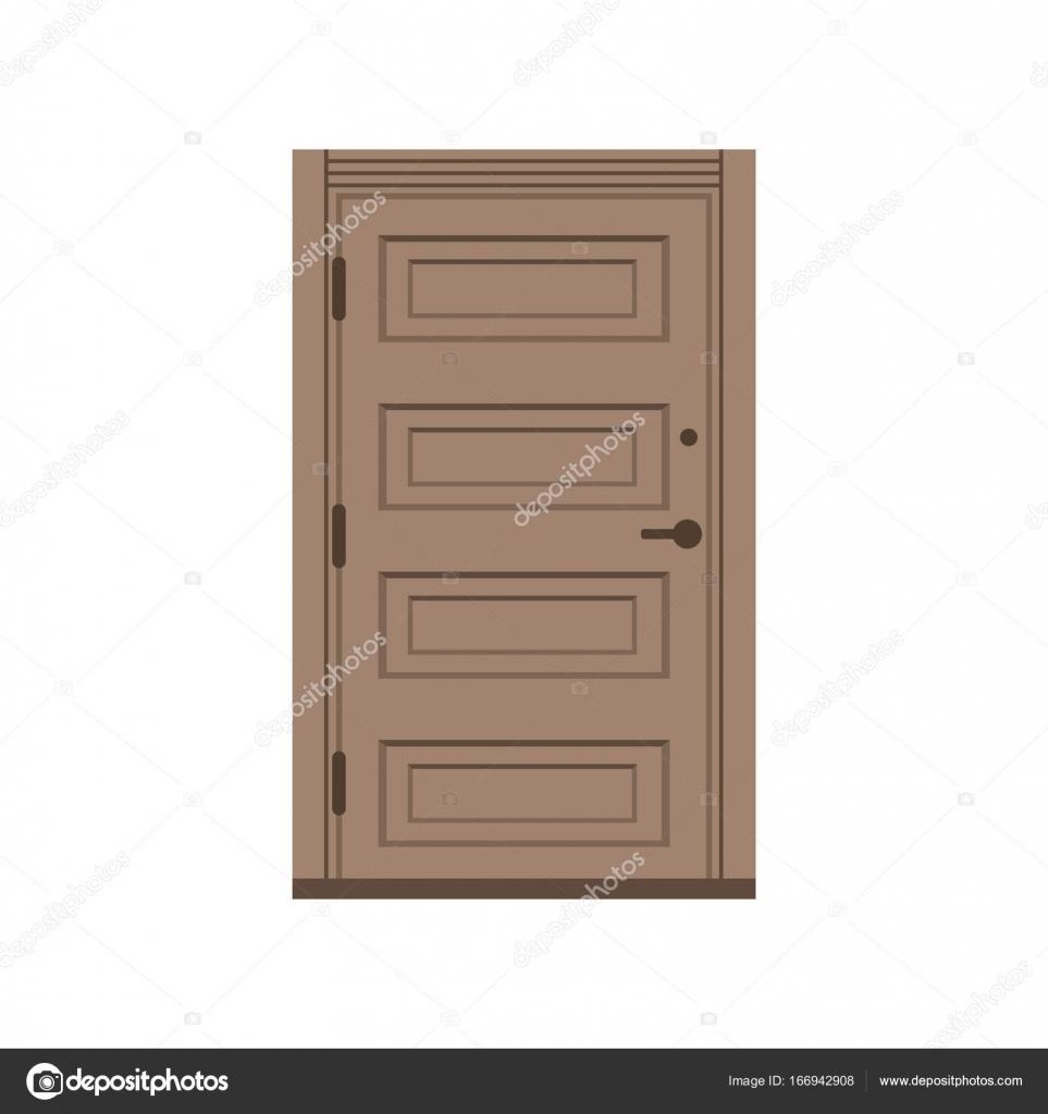 Classic wooden entrance door, closed brown elegant door vector ...