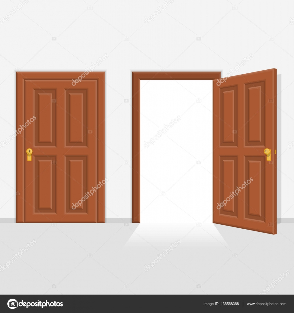 Open and closed door house front. — Stock Vector © art-sonik #136568368