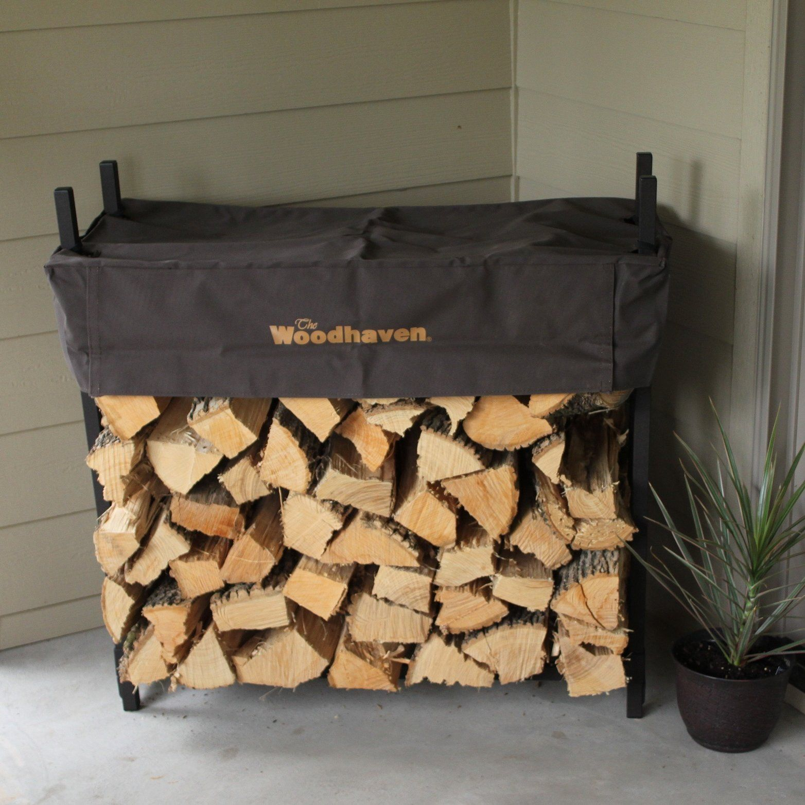 The Woodhaven 5ft Brown Firewood Rack With Cover | eBay