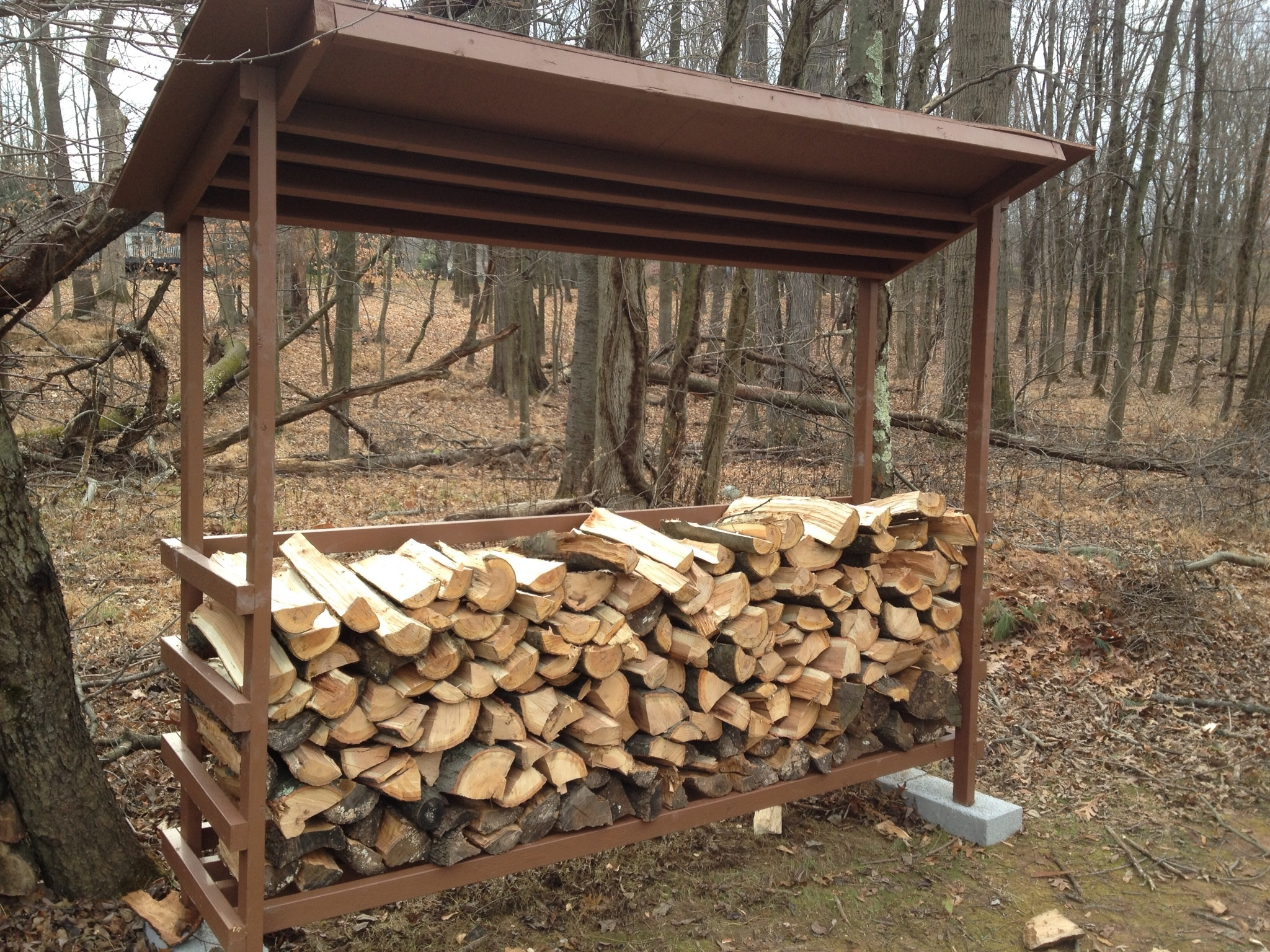 Simple DIY Backyard Firewood Storage Shed With Roof And Cinder Block ...