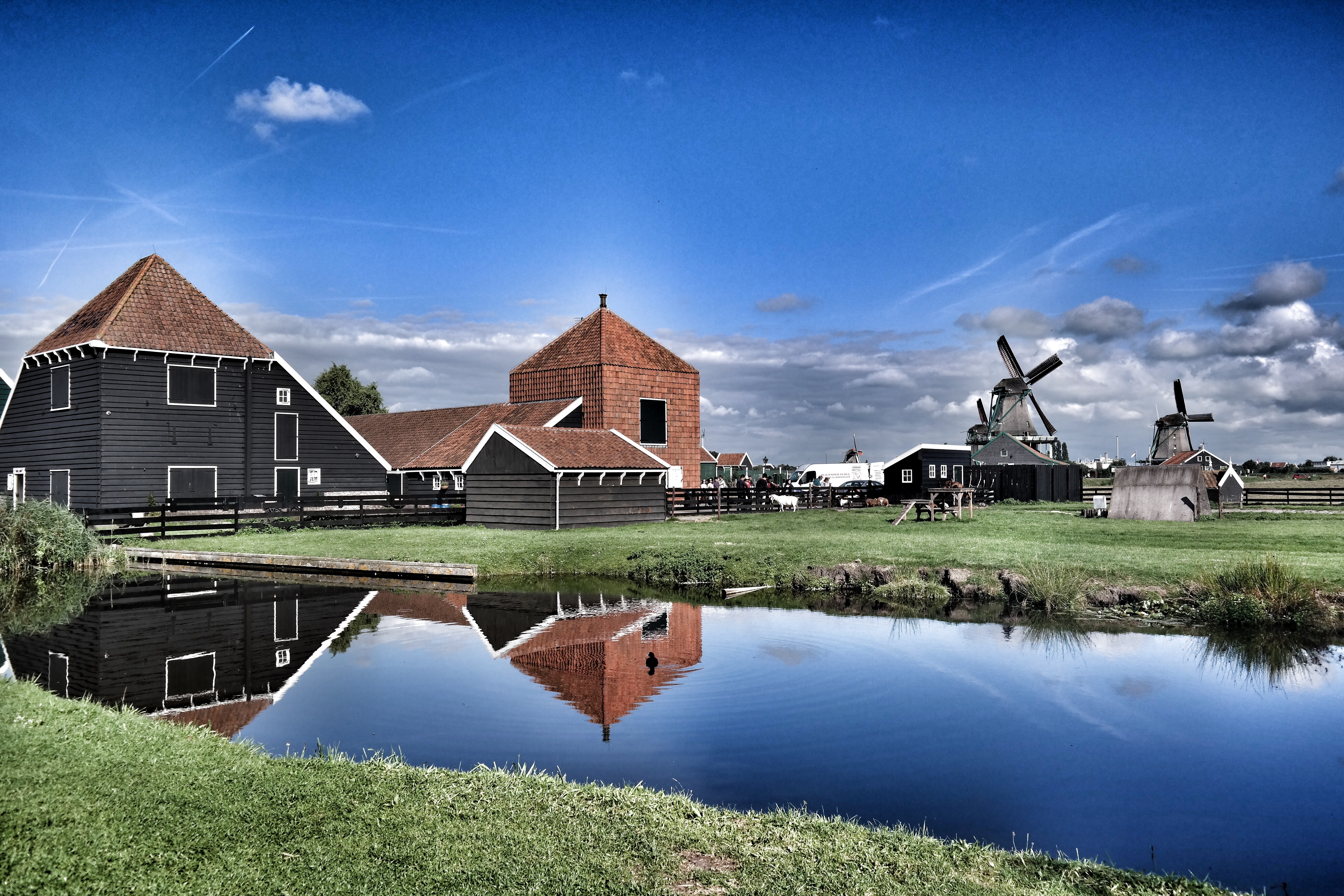 Brown Grey Barn House Near Windmill during Daytime, Outdoors, Reflection, Mill, Lawn, HQ Photo