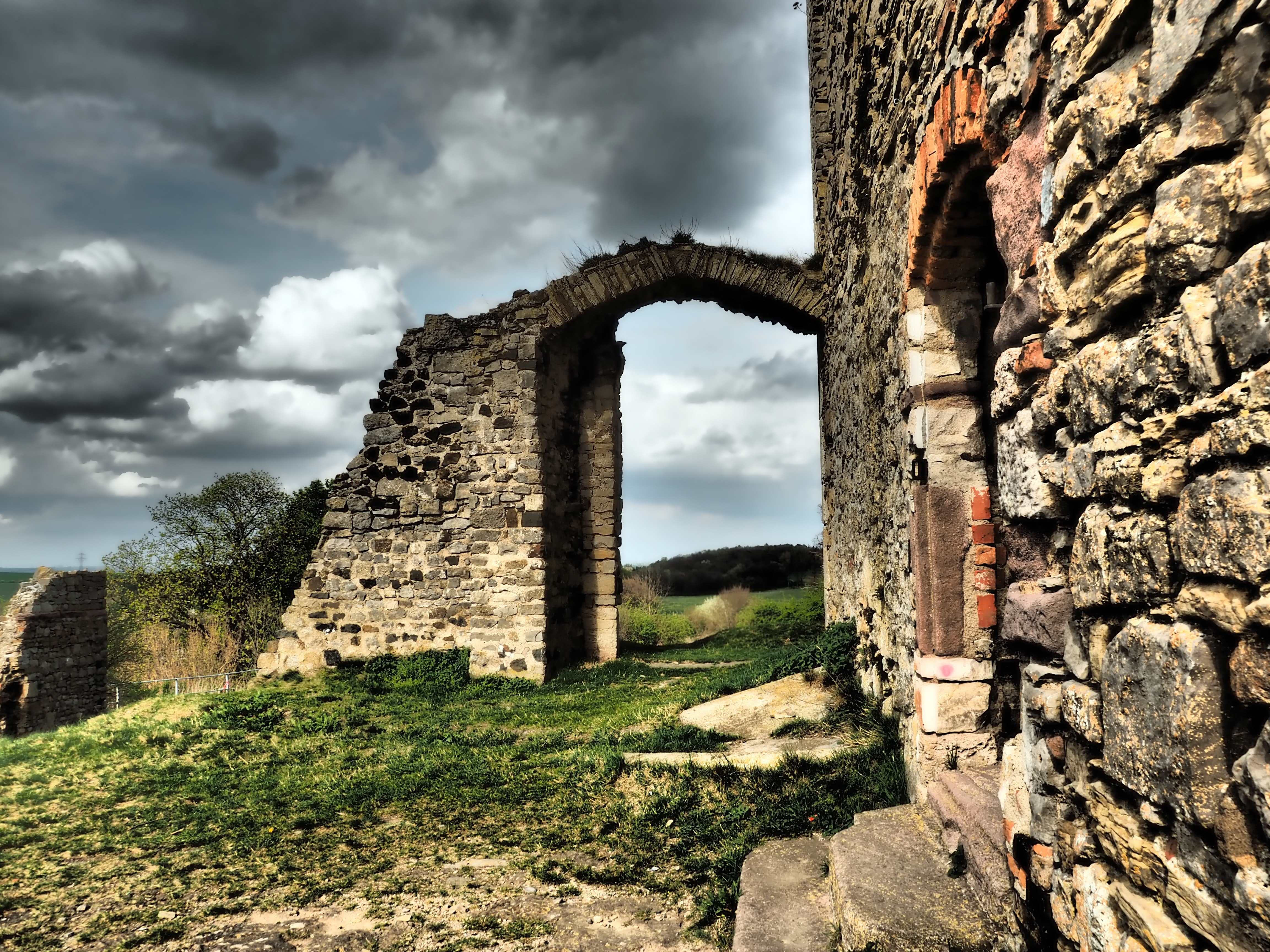 Brown Grey Brick Old Building, Recovery, Panorama, Meadow, Religion, HQ Photo