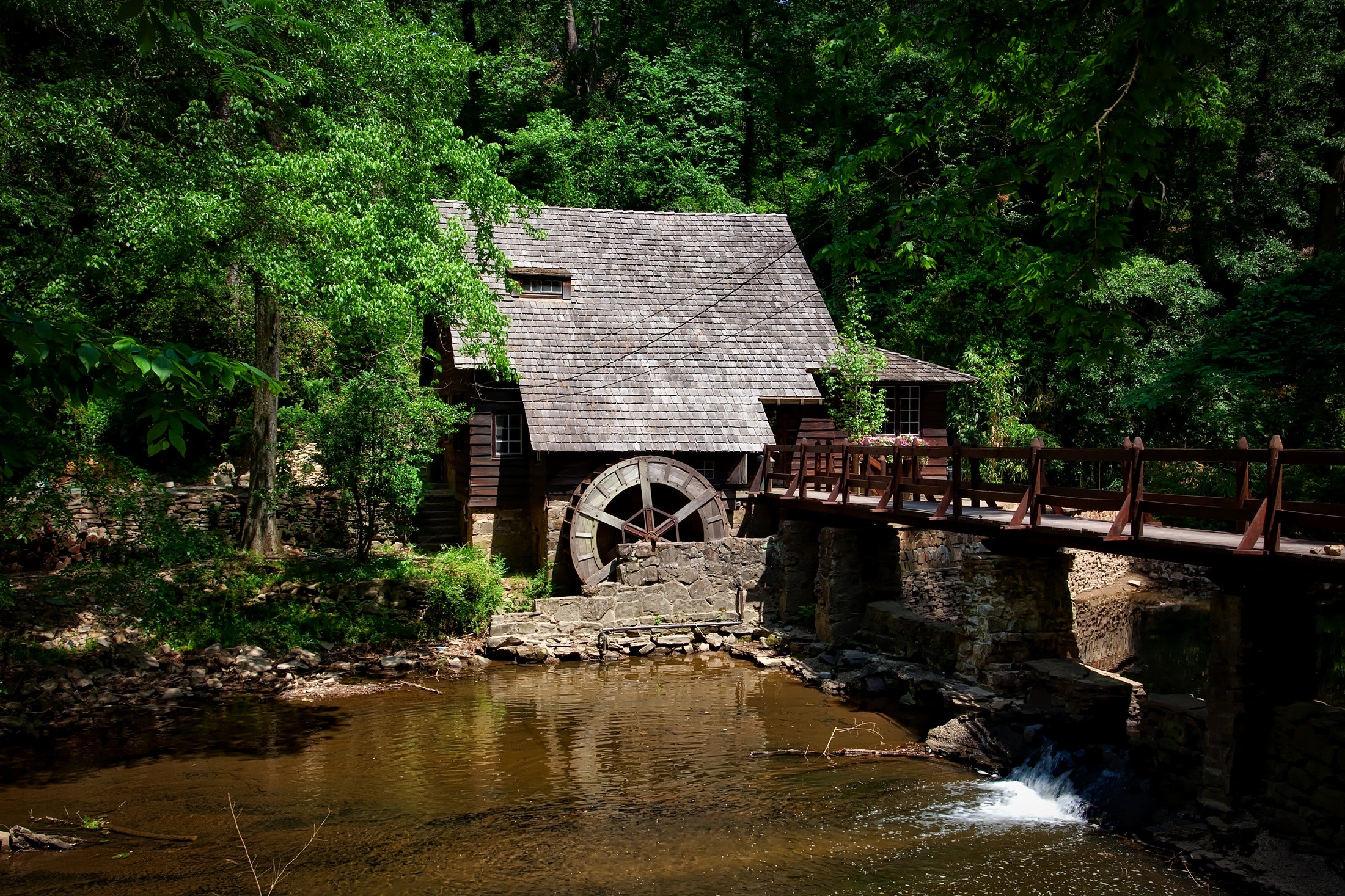 Brown House Near River Trees and Bridge, Structure, Summer, Stream, Travel, HQ Photo