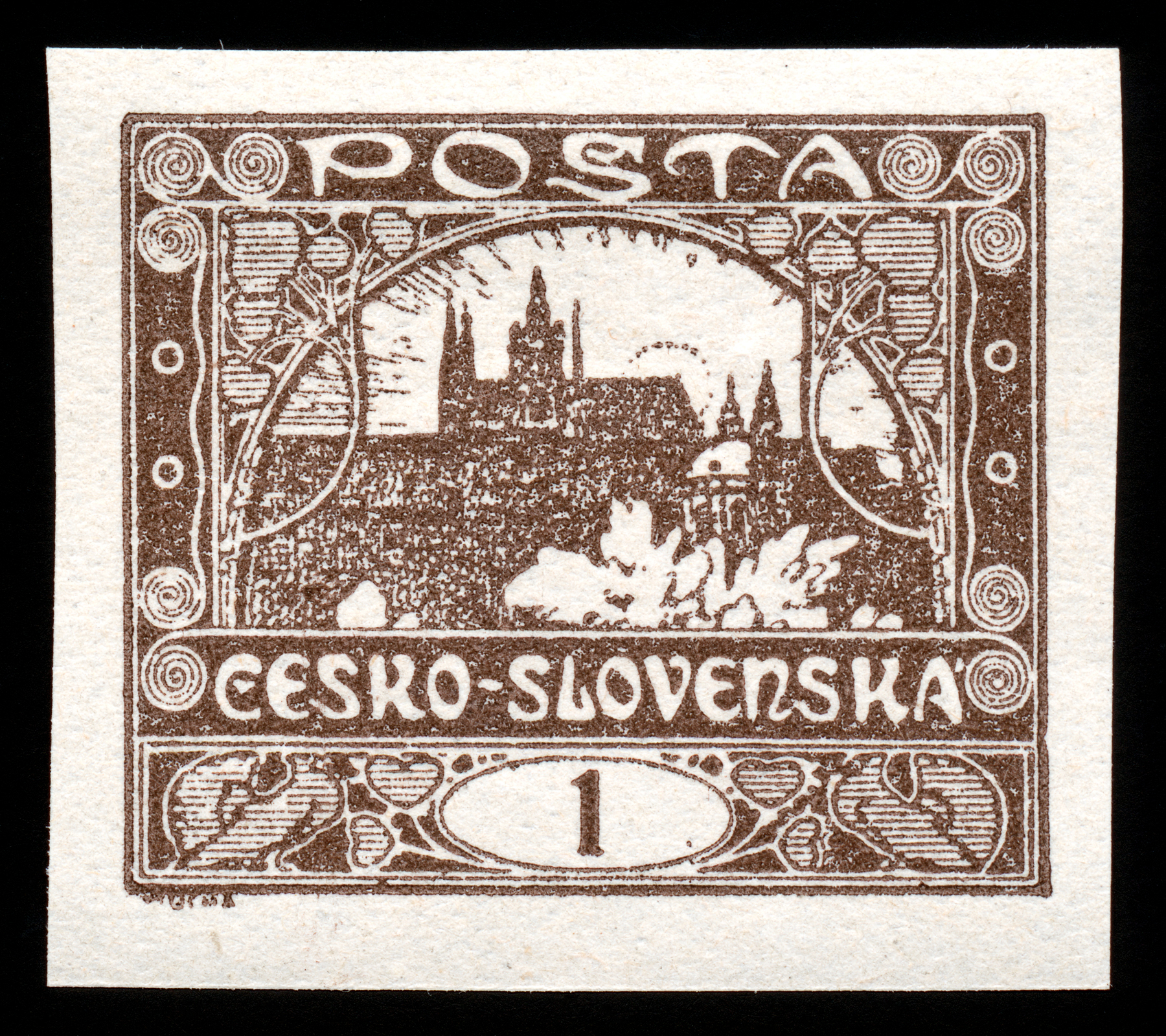 Brown hradcany castle stamp photo
