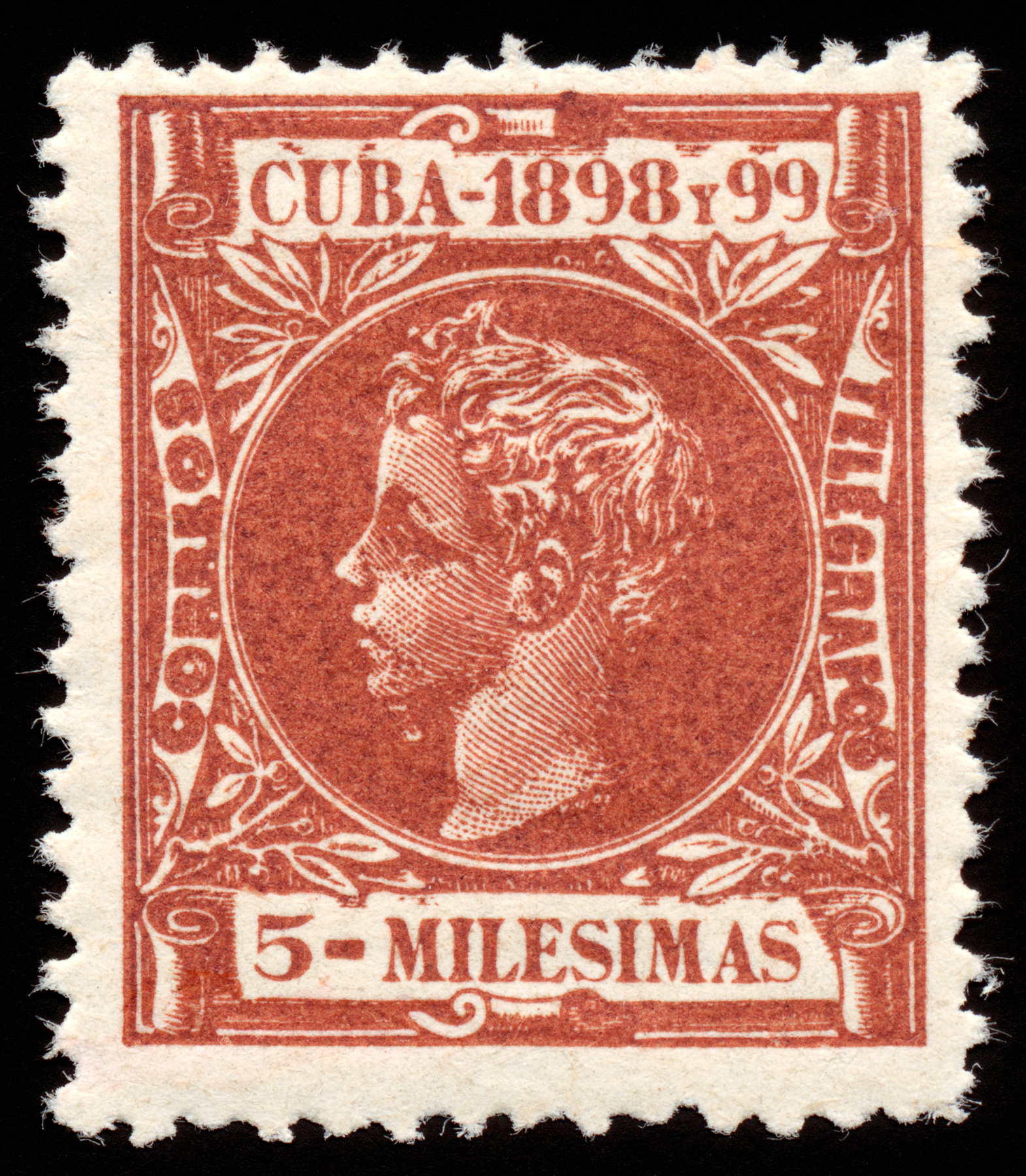Brown king alfonso xiii stamp photo