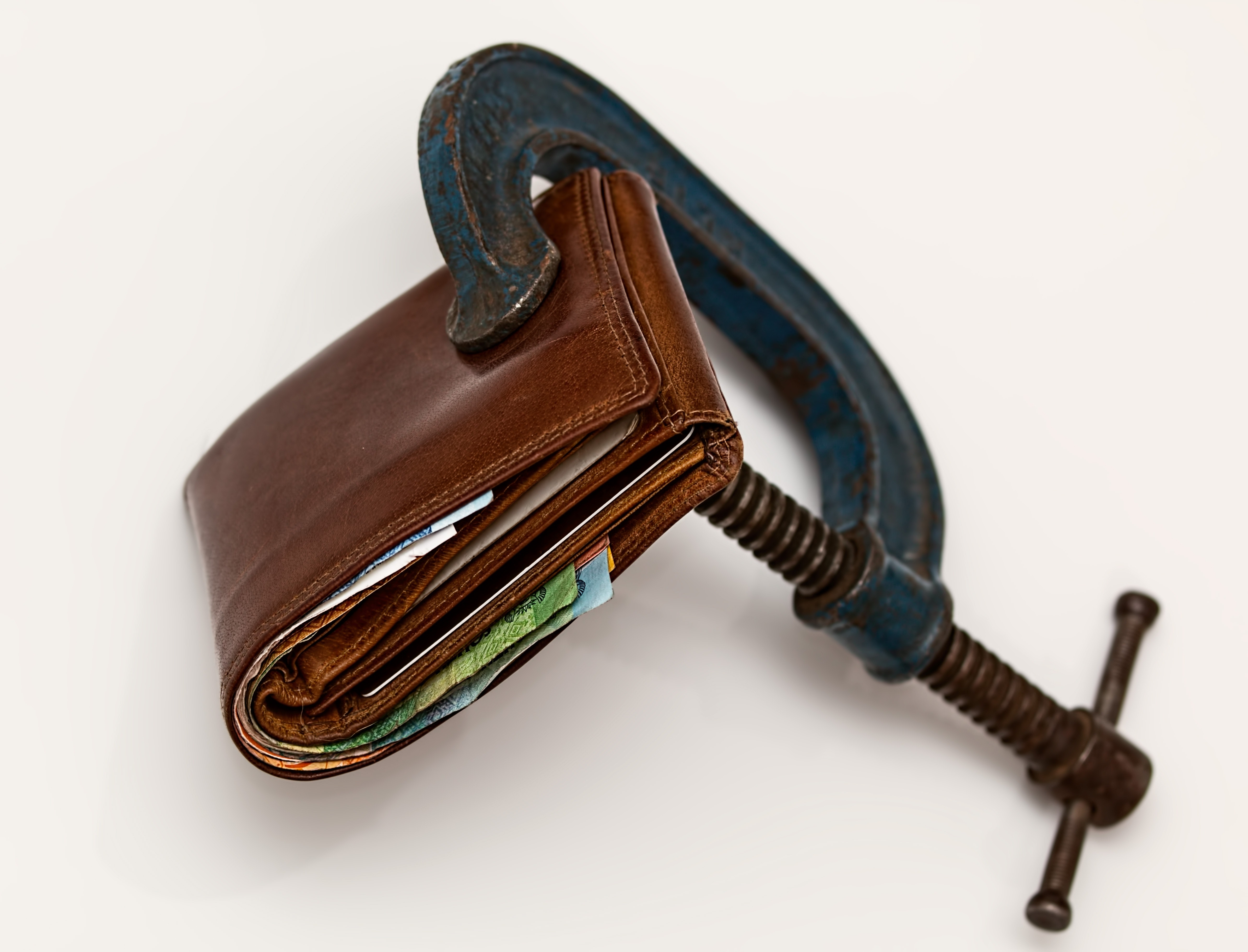 Brown Leather Wallet Using Blue Steel Clap, Cash, Close-up, Leather, Metal, HQ Photo