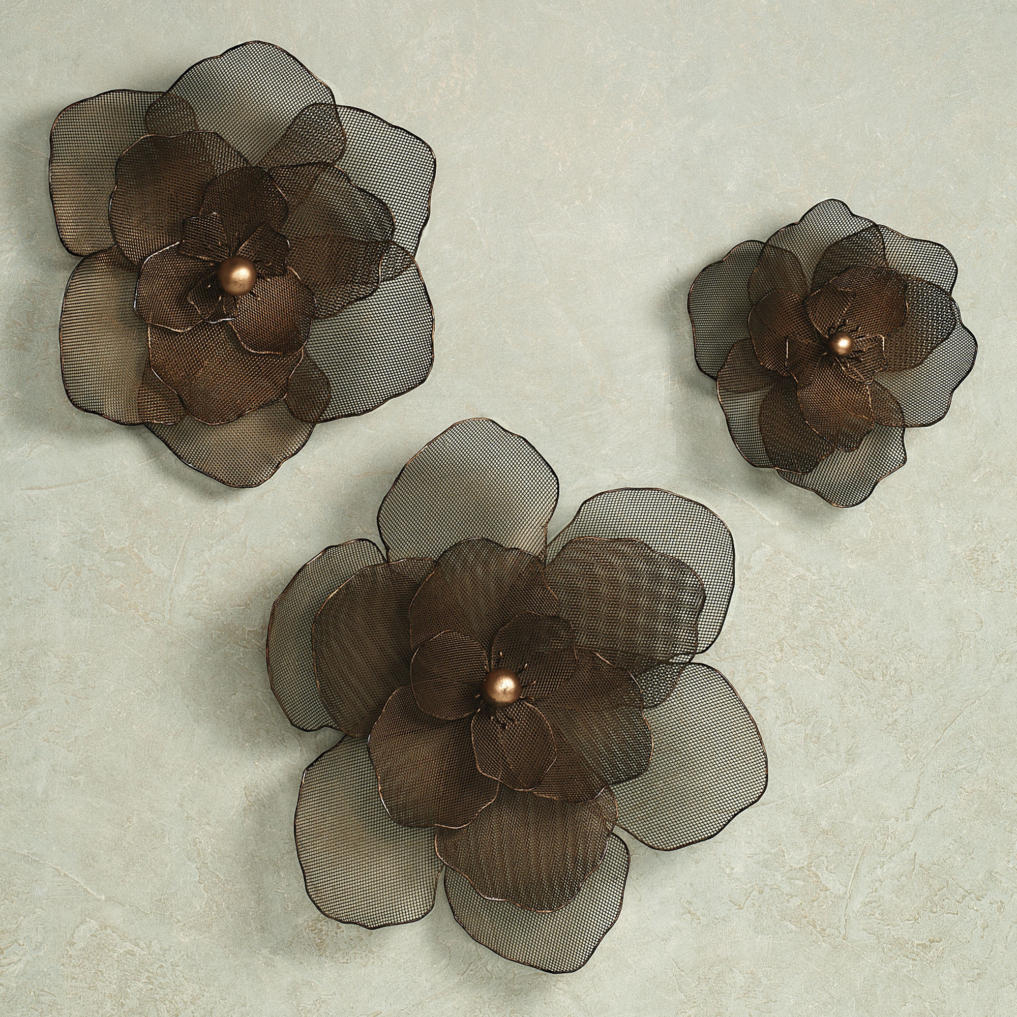 Wall Art Ideas Design : Asataire Flower Brown Metal Wall Art Set ...