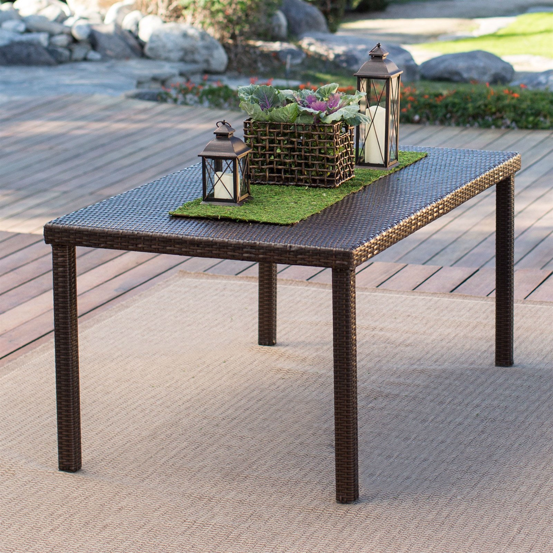 Dark Brown 63-inch Outdoor Resin Wicker Rectangular Patio Dining ...
