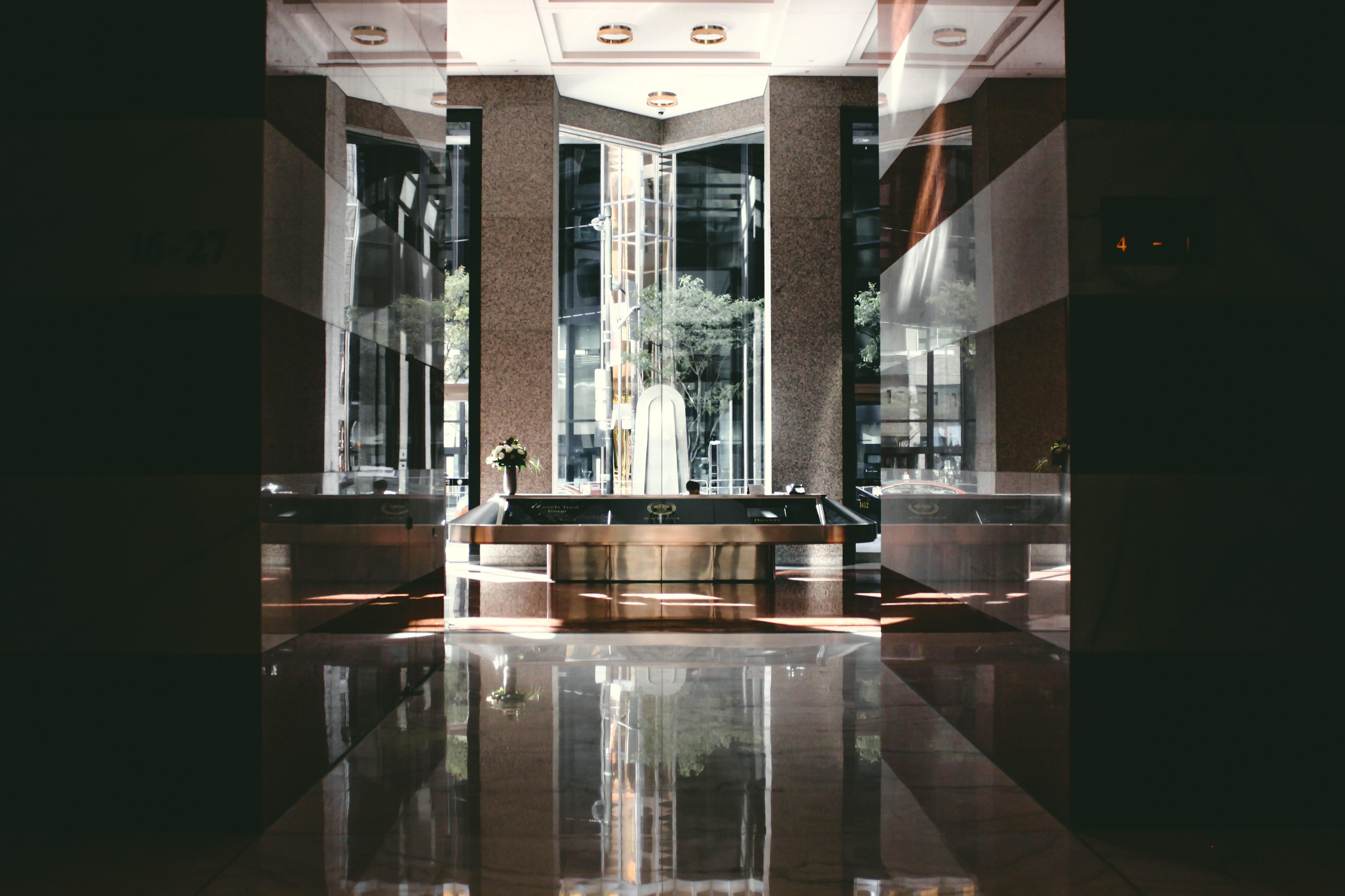 Brown Rectangular Table, Reflection, Reception, Shiny, Modern, HQ Photo