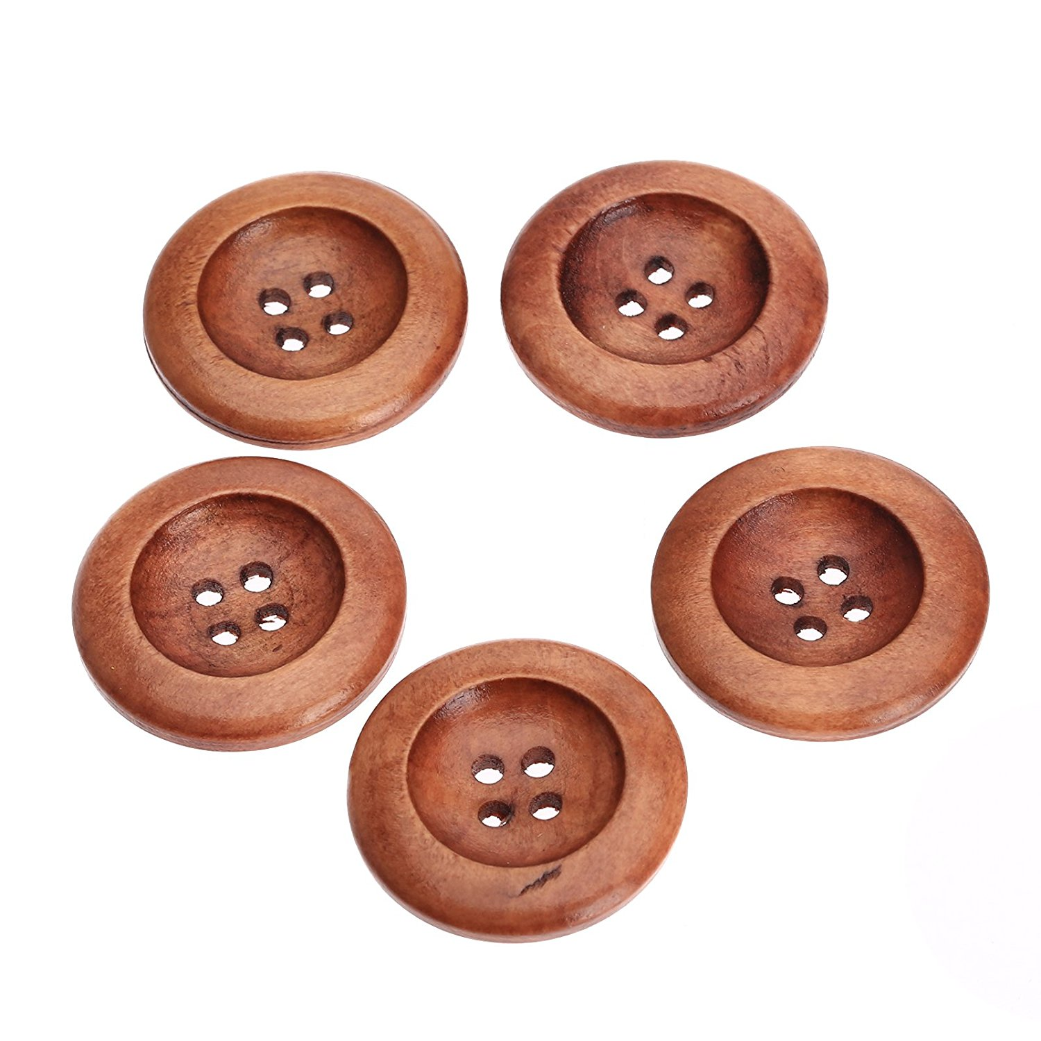 Dophee 50Pcs 25mm 4 Hole Brown Round Wood Button Sewing Scrapbooking ...