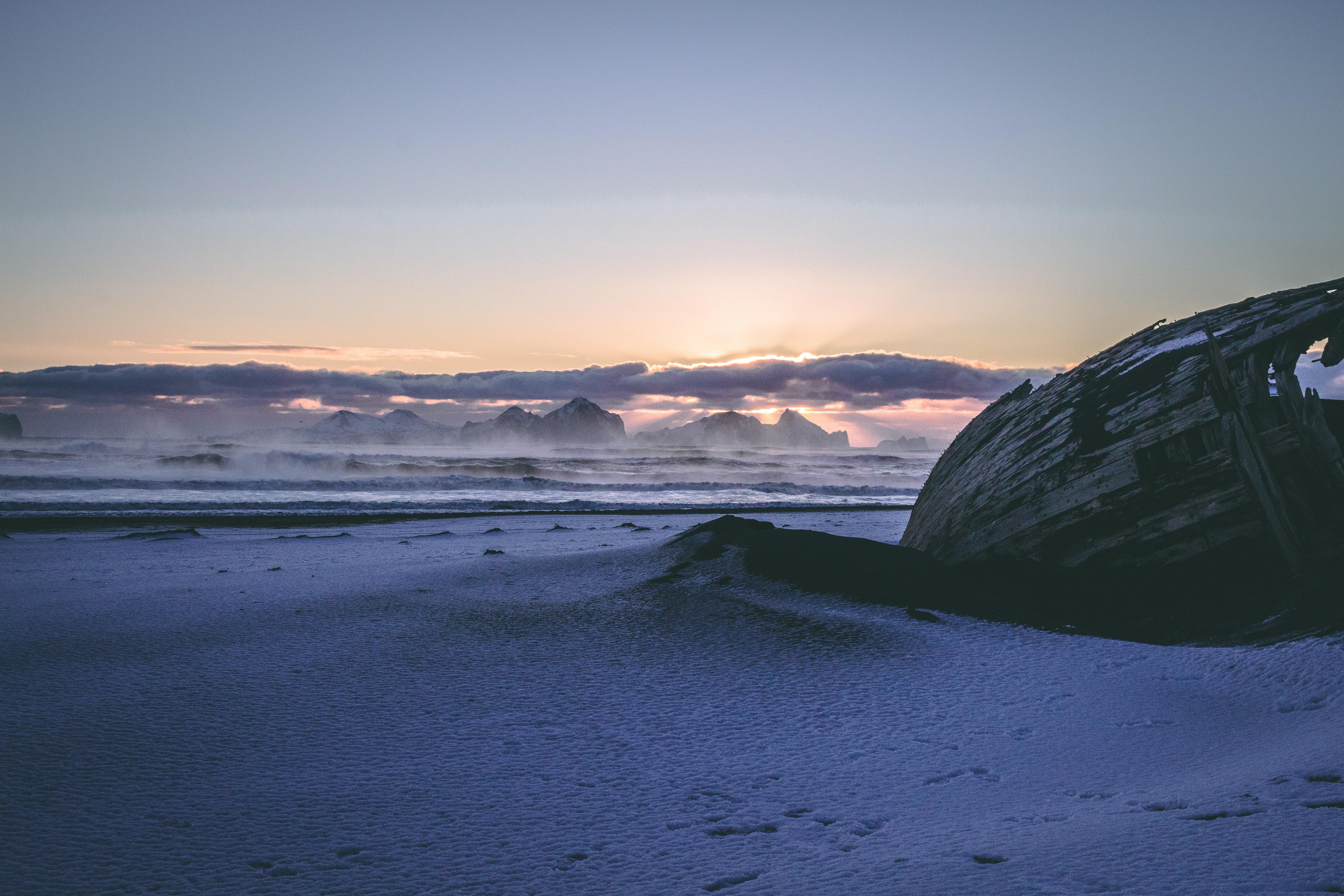 Brown Sand Under White Sky, Beach, Sea, Waves, Water, HQ Photo