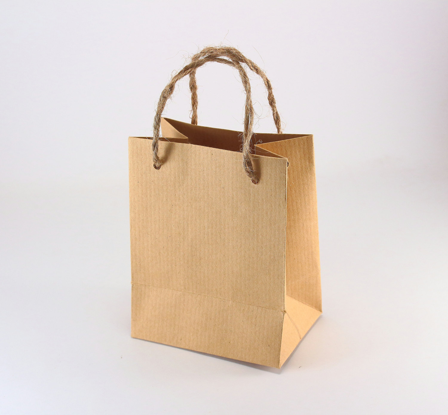 10 Kraft Paper Bags with Handles Burlap Twine Extra Small