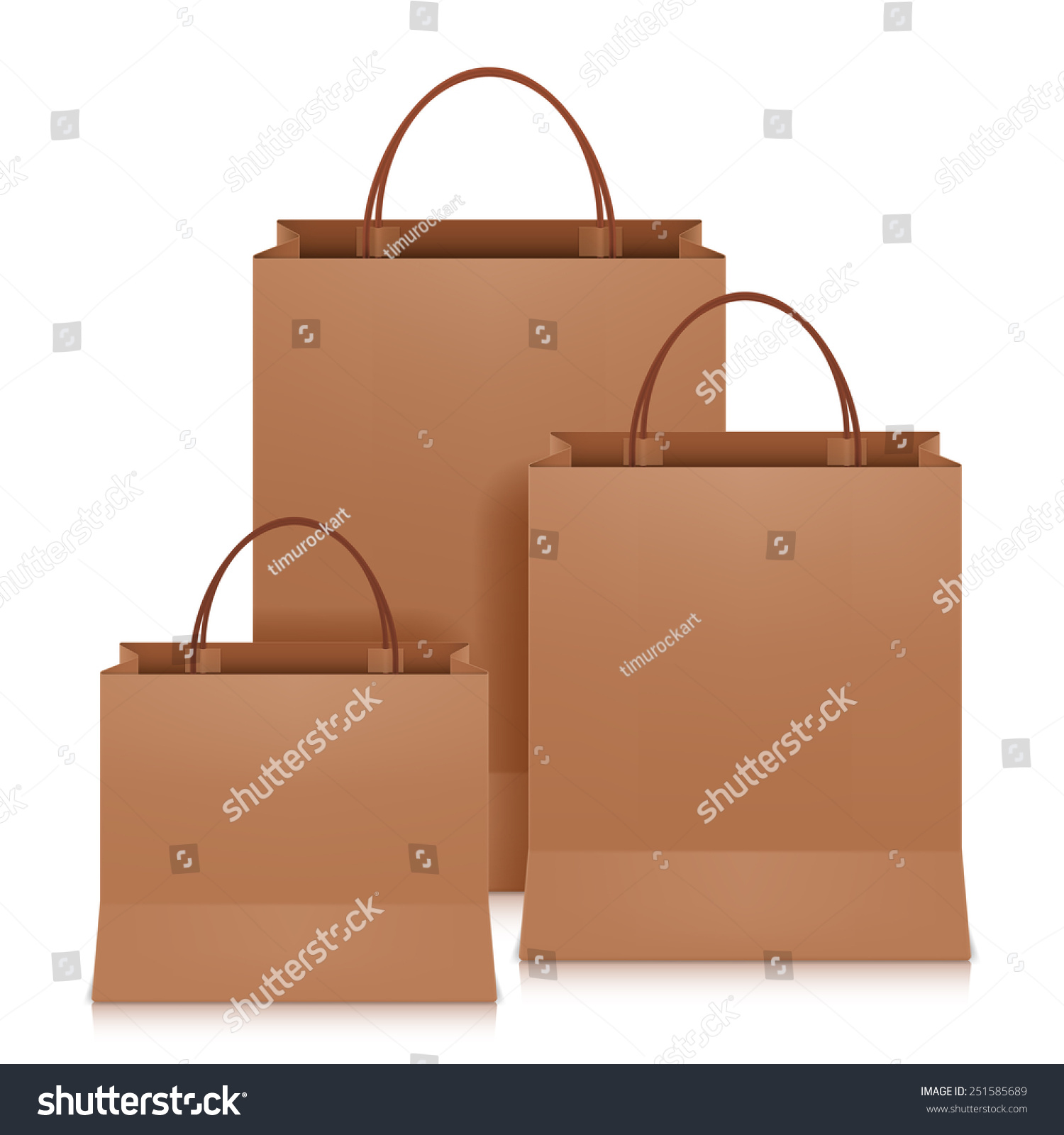Three Brown Shopping Bags On White Stock Vector 251585689 - Shutterstock