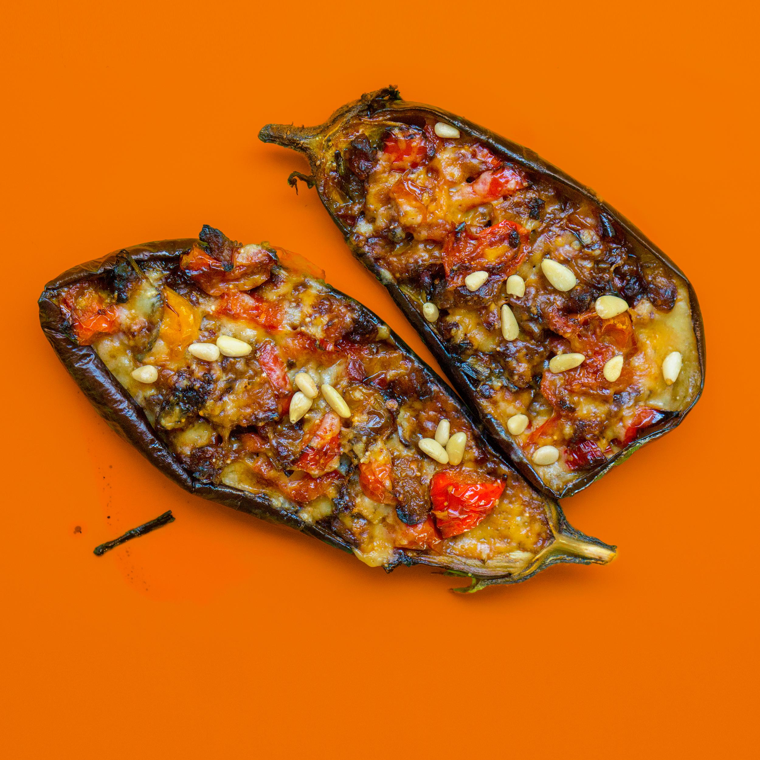 Brown slice eggplants photo