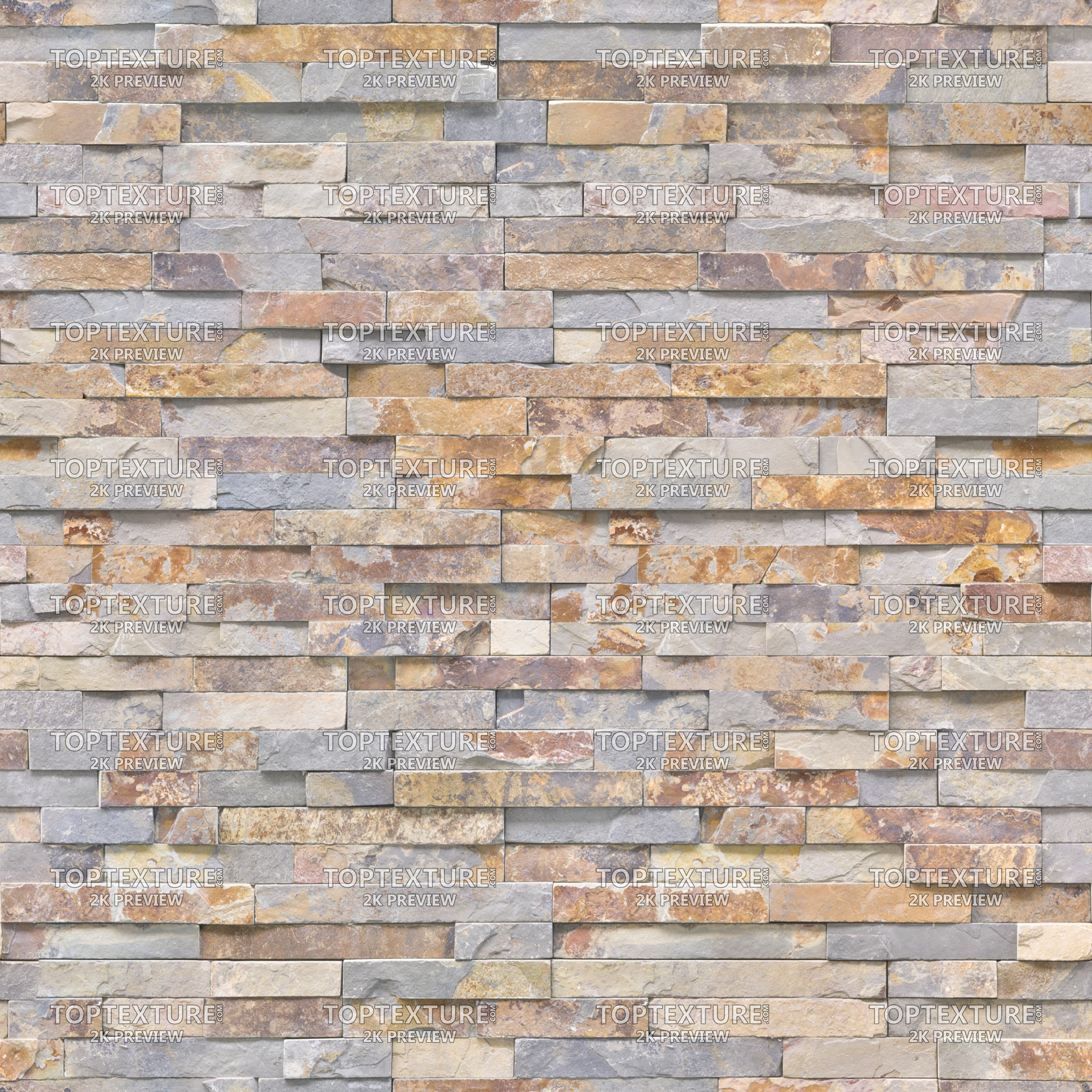 Brown-Grey Wall Stone Cladding - Top Texture
