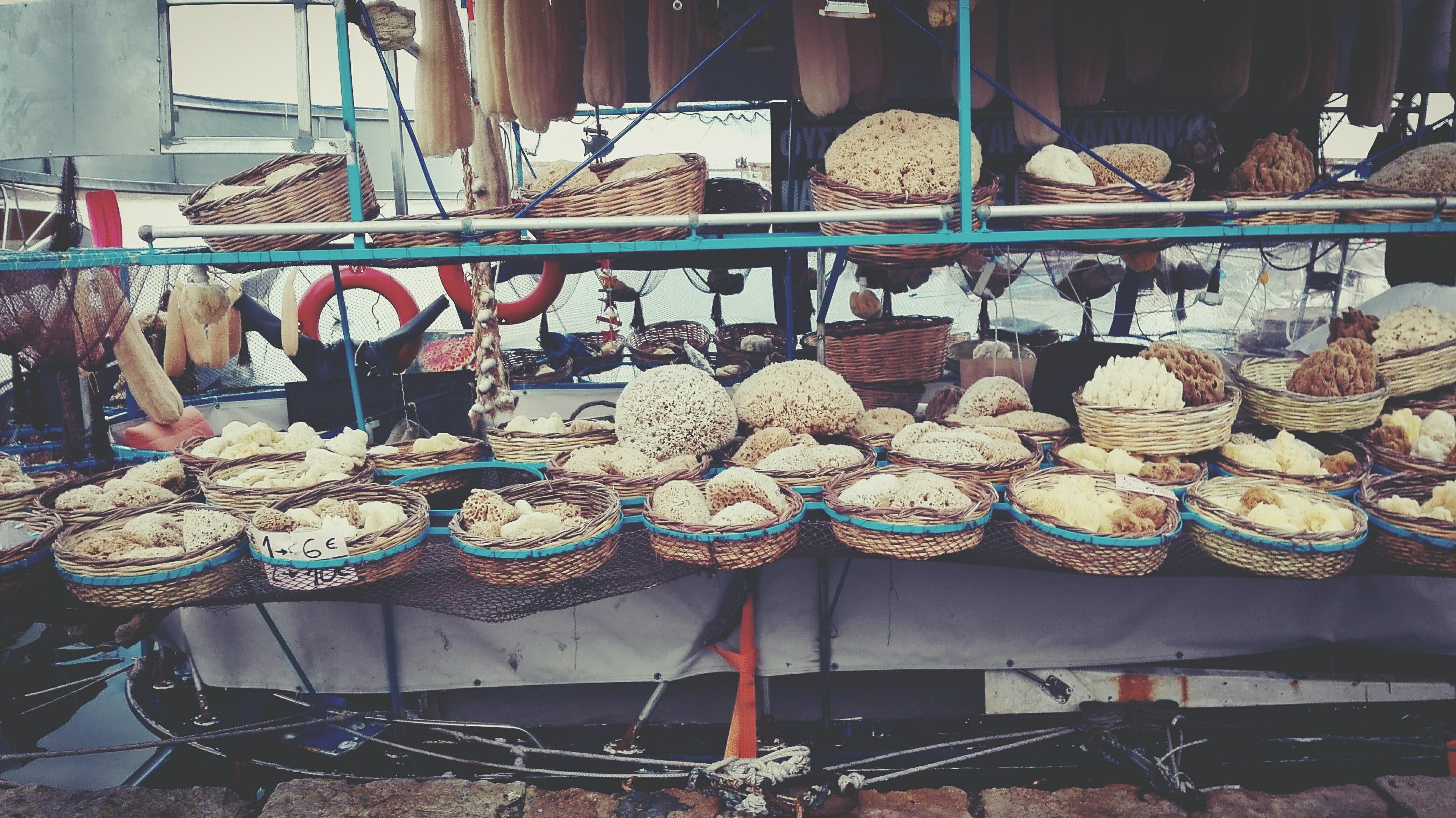 Brown wicker basket lot photo