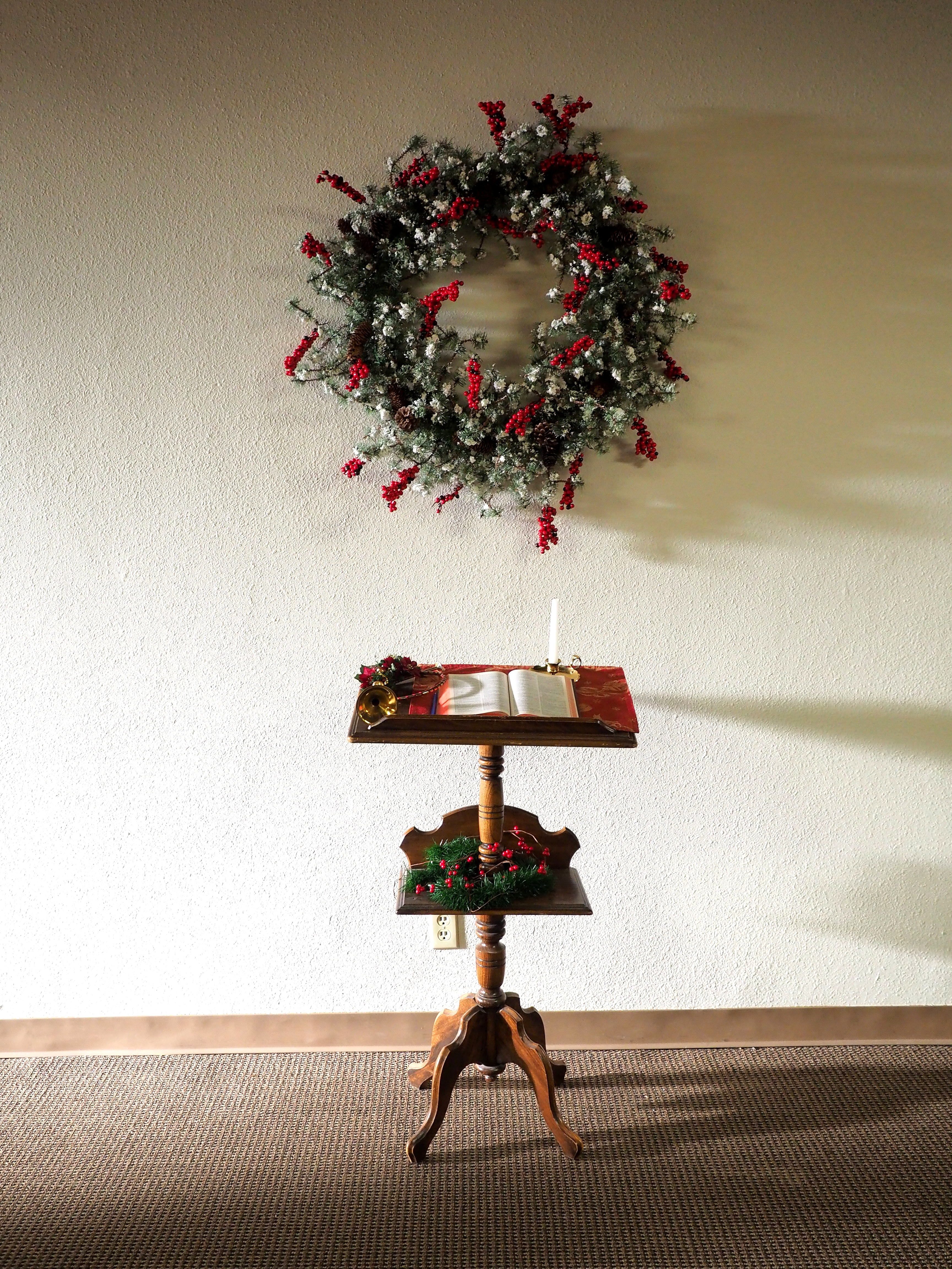Brown Wooden 2-layer Book Rack, Indoors, White wall, Wood, Wreath, HQ Photo