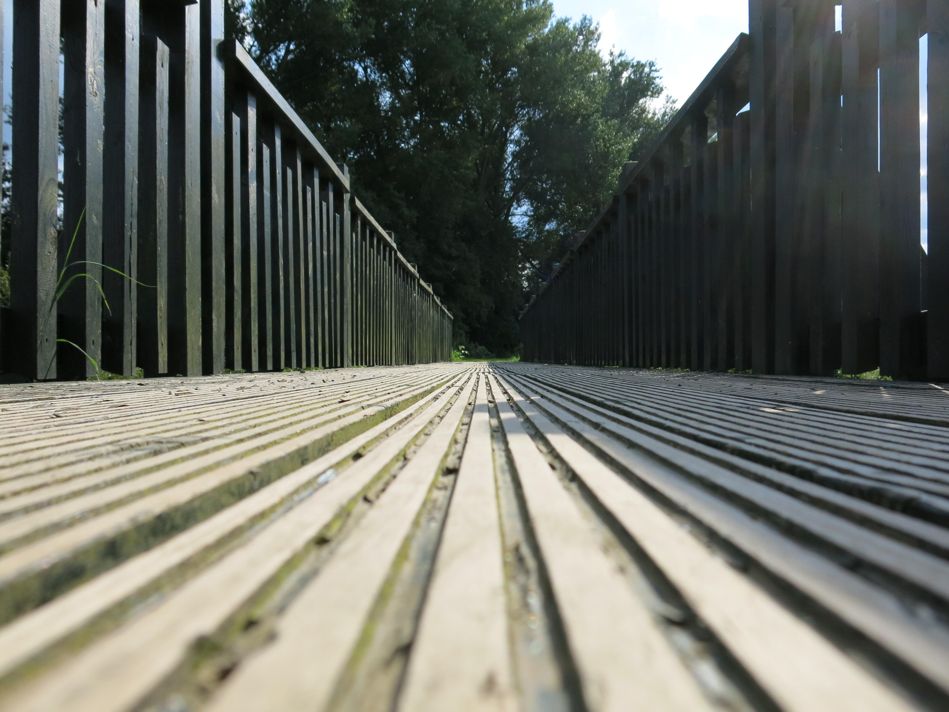 Brown Wooden Bridge, Pattern, Railings, Wood, Outdoors, HQ Photo