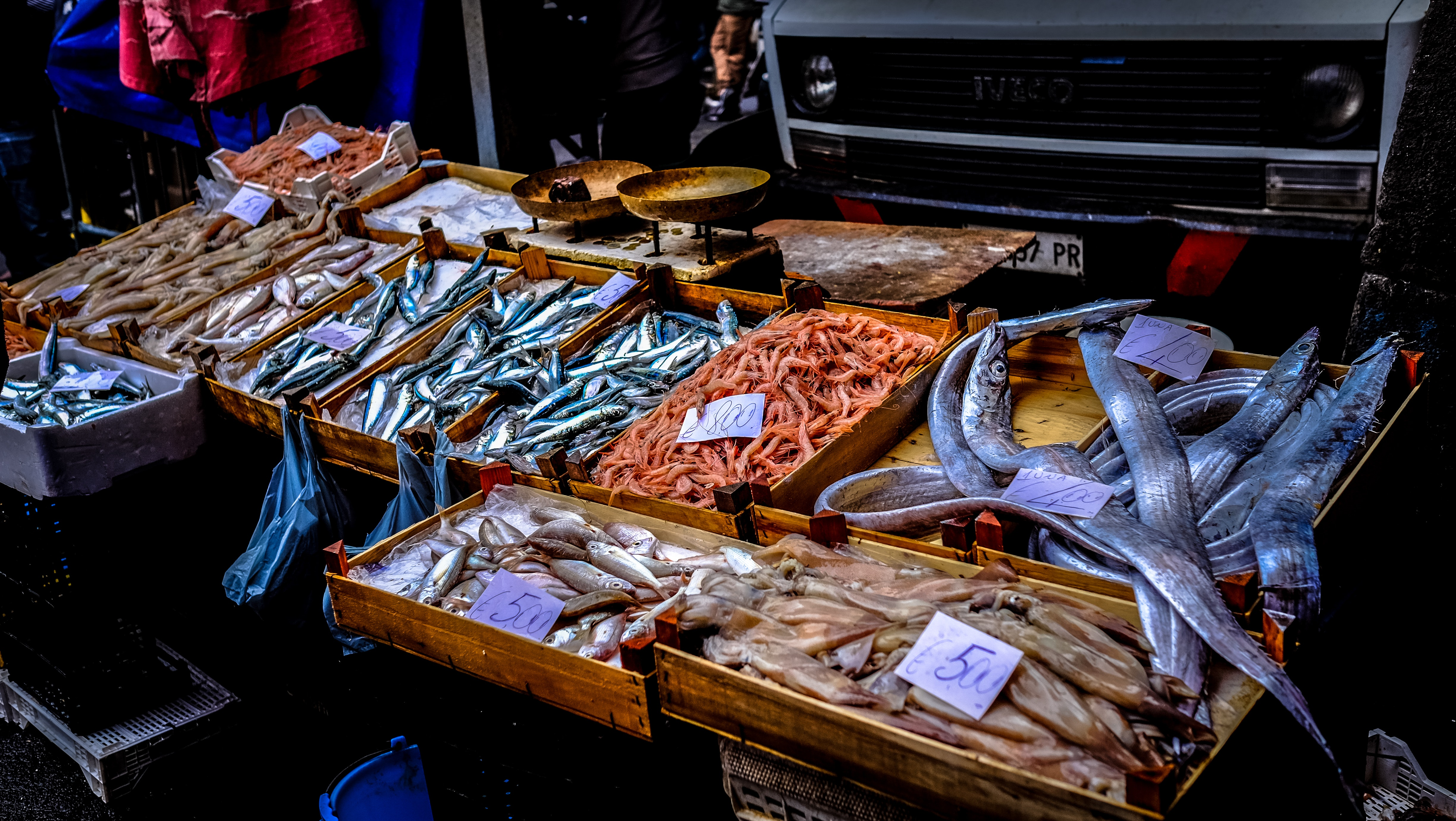 Brown Wooden Case, Fish, Food, Market, Sale, HQ Photo