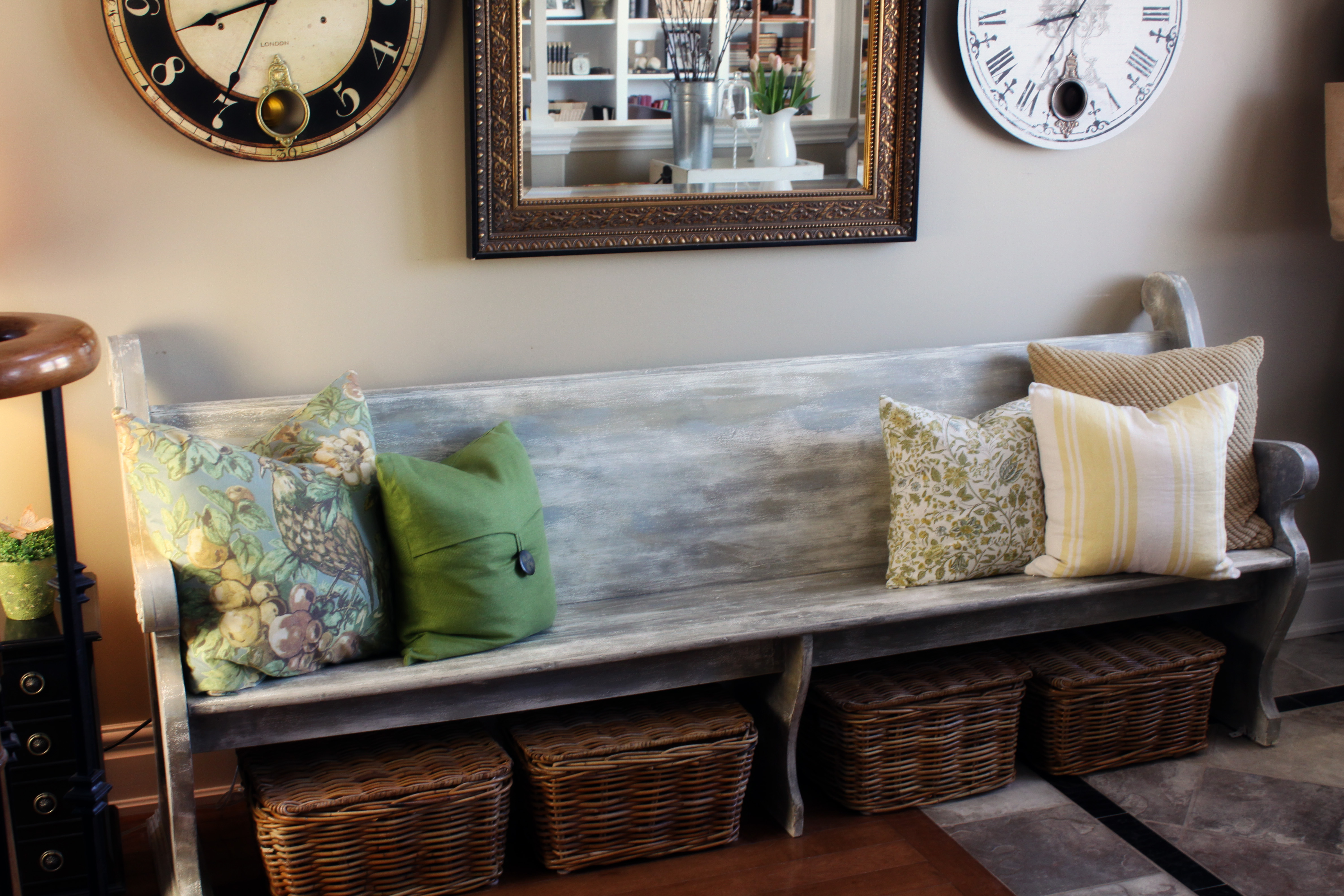 Love Using Old Church Pews In The Home And Baskets Underneath