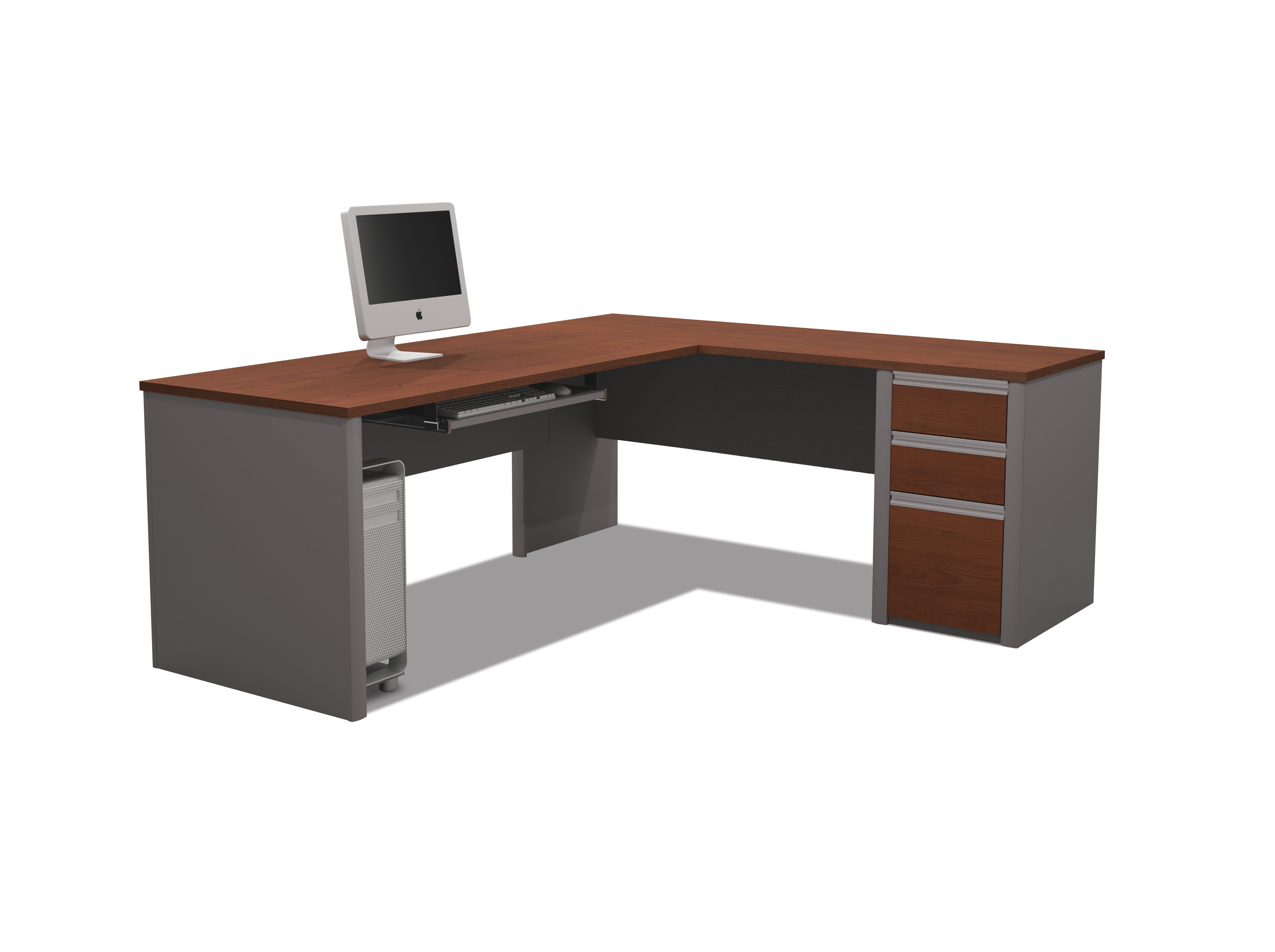 grey wooden desk with brown wooden top and drawers also grey wooden ...