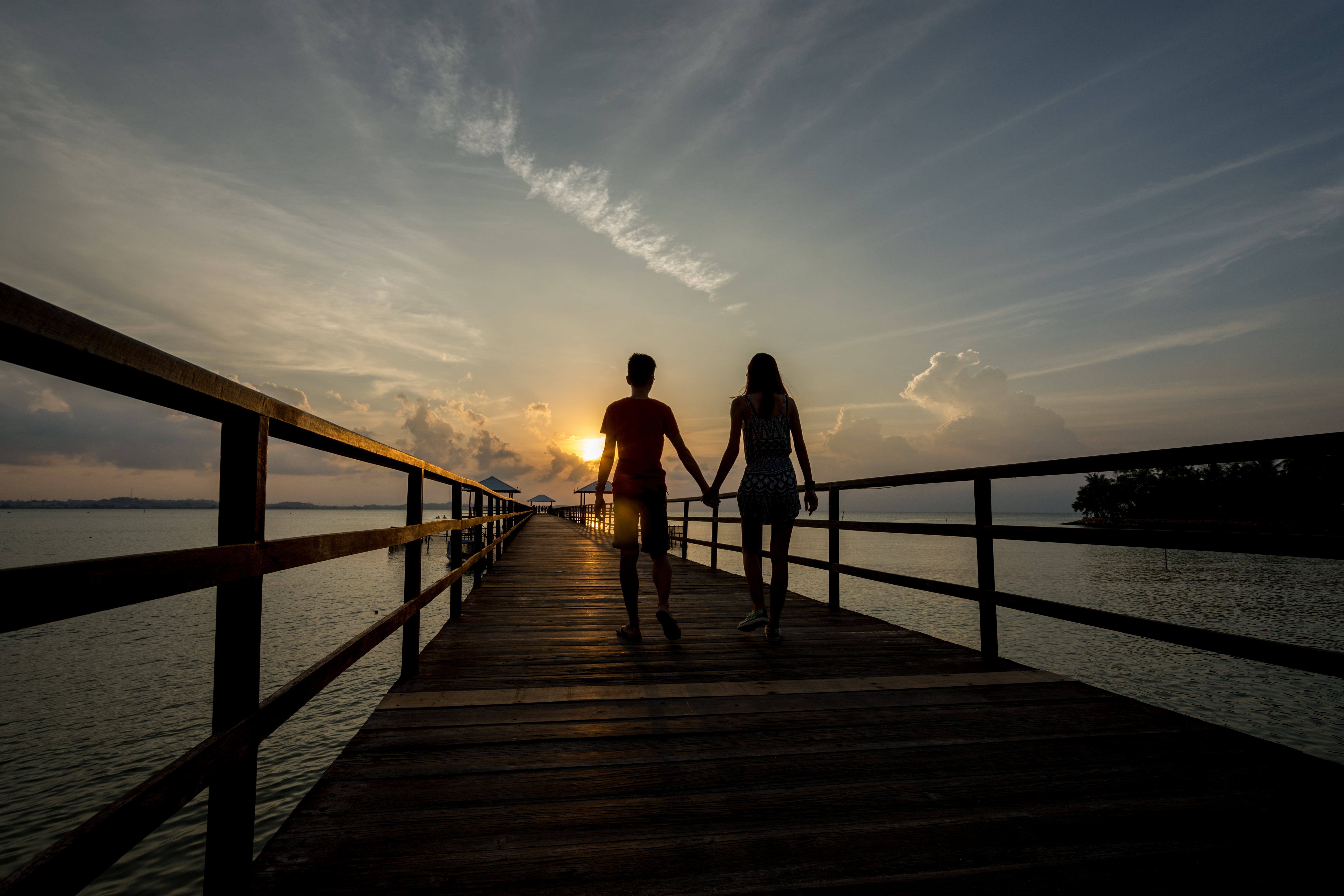 Silhouette of man and woman holding hands walking on brown wooden ...