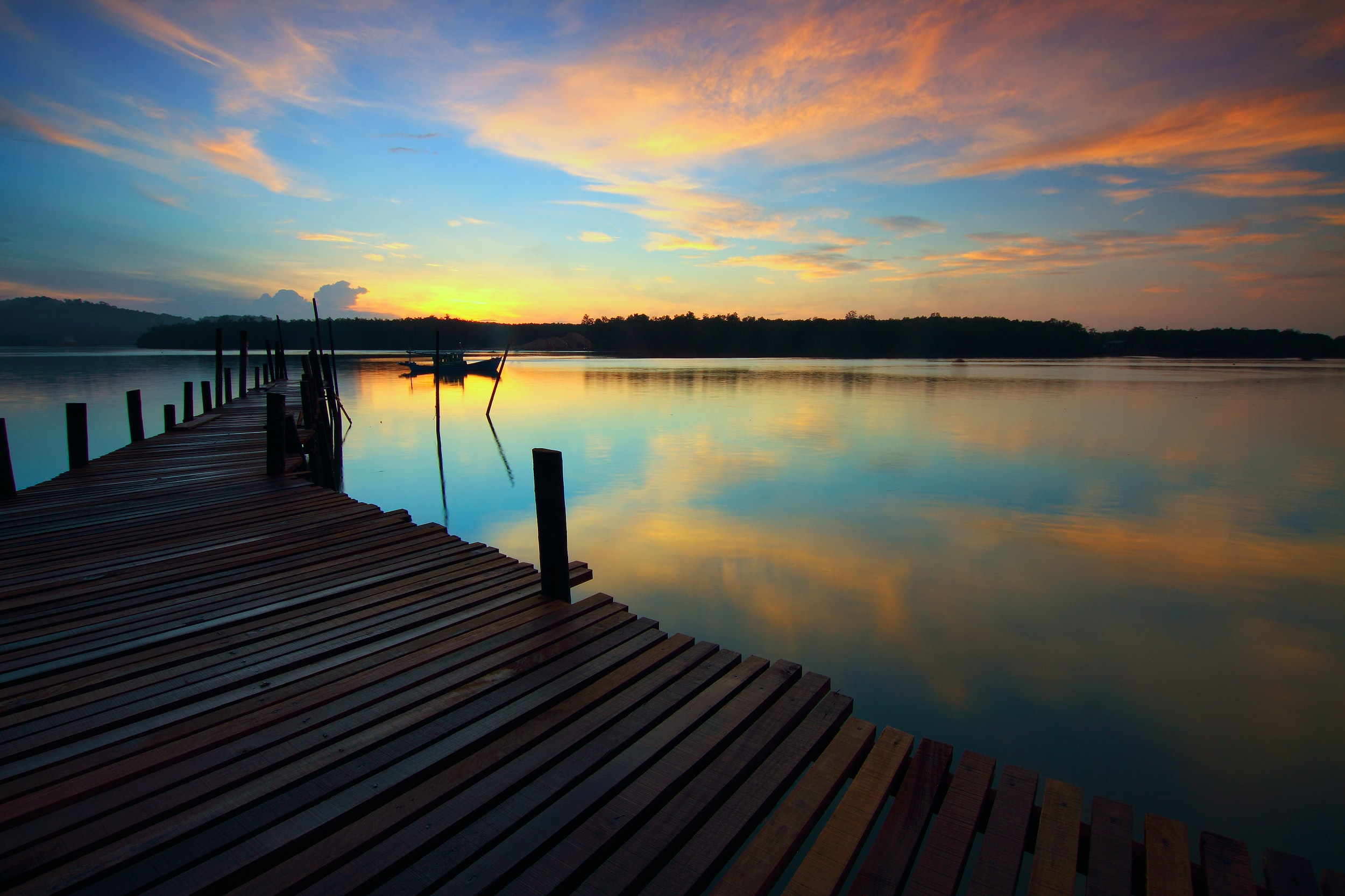 Brown Wooden Dock, Dawn, Reflection, Water, Trees, HQ Photo