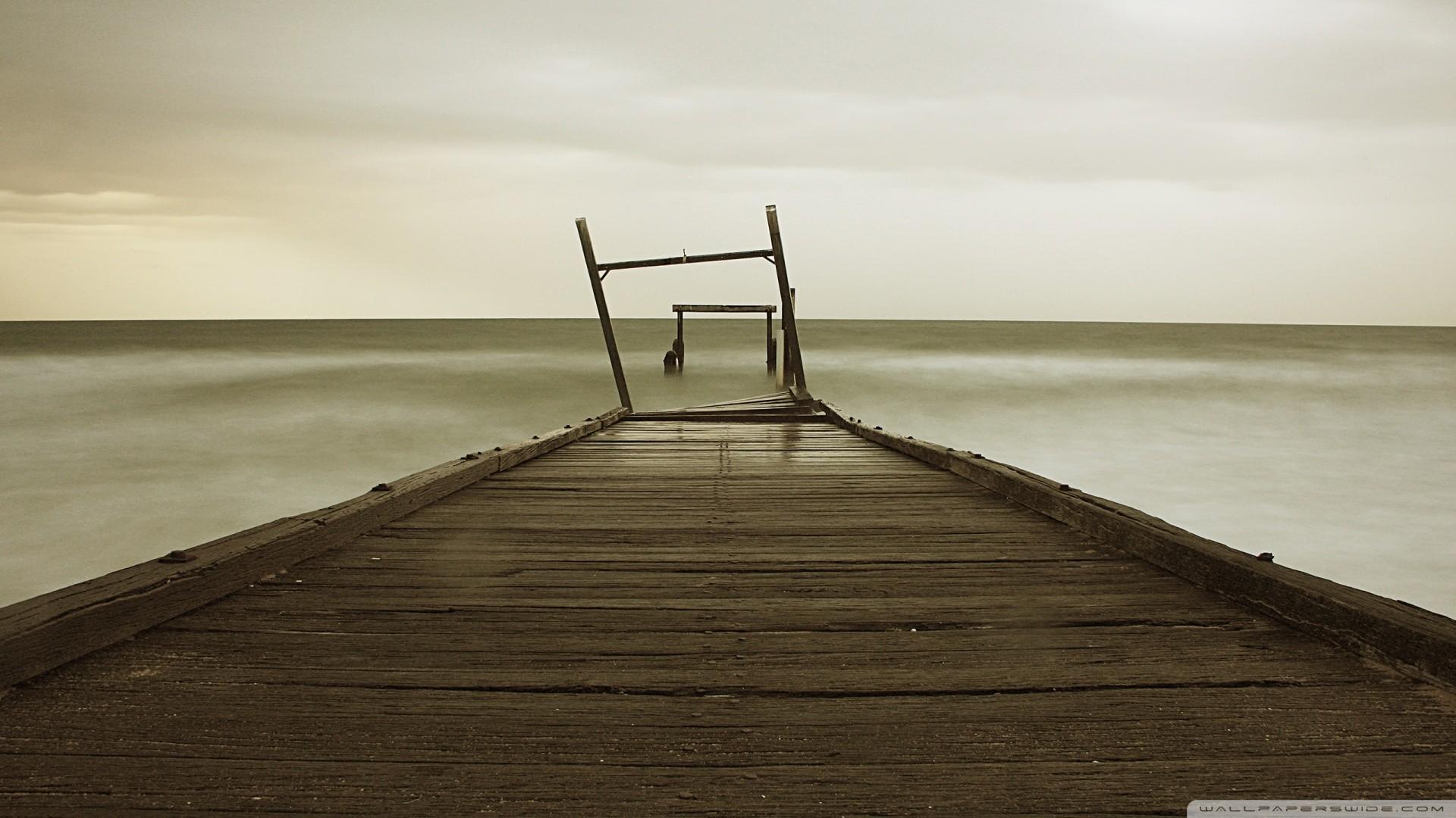 Bridges: Old Wooden Pier Wood Horizon Sea Mist Best Wallpapers for ...