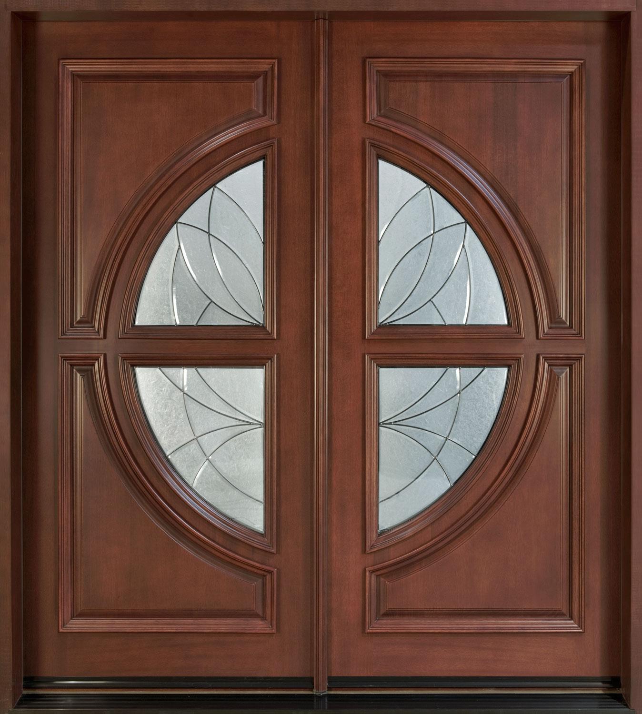 Modern Front Door Custom - Double - Solid Wood with Medium Mahogany ...
