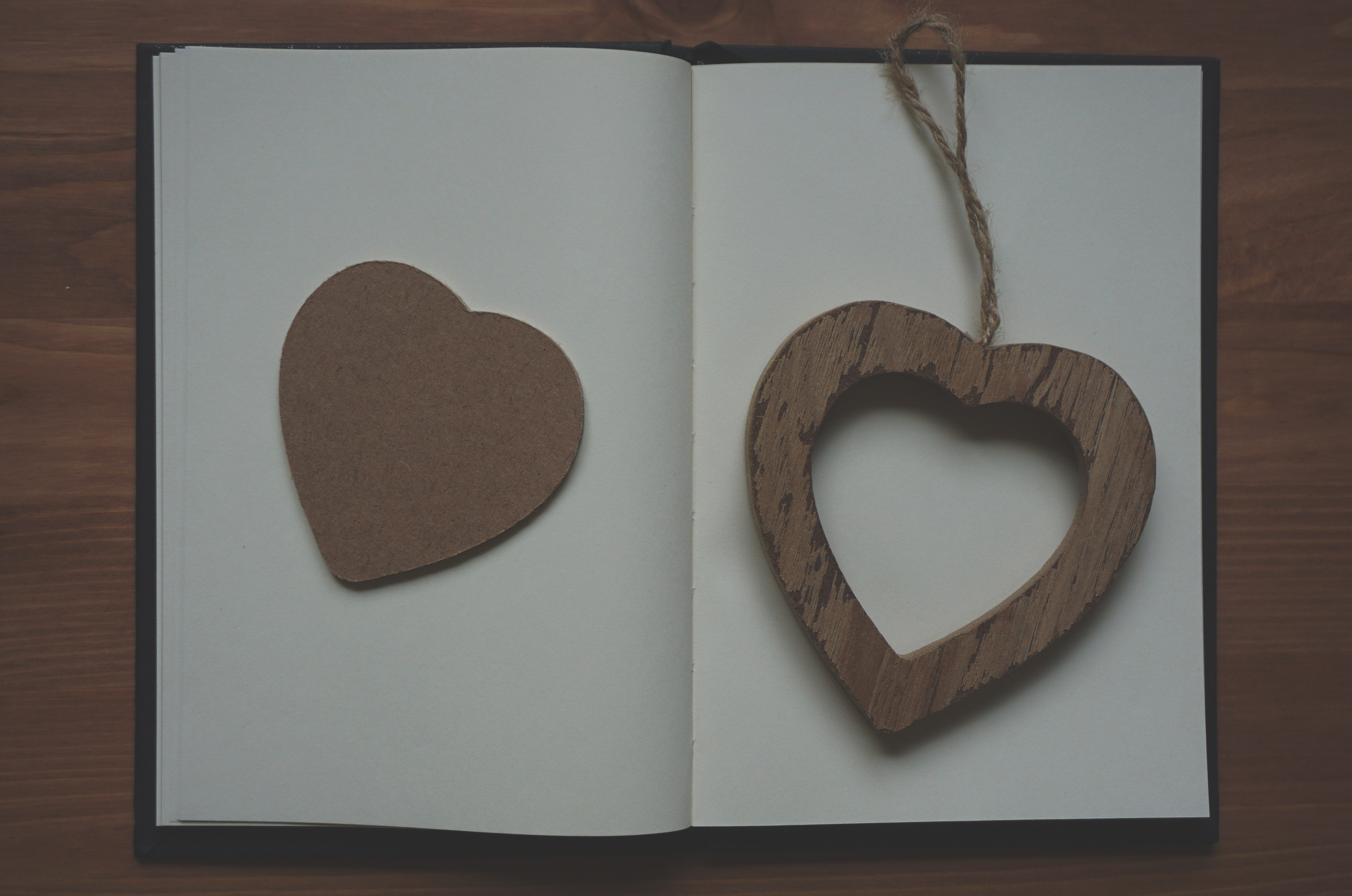 Brown Wooden Heart Shape Pendant on White Book, Blank, Heart, Label, Note, HQ Photo