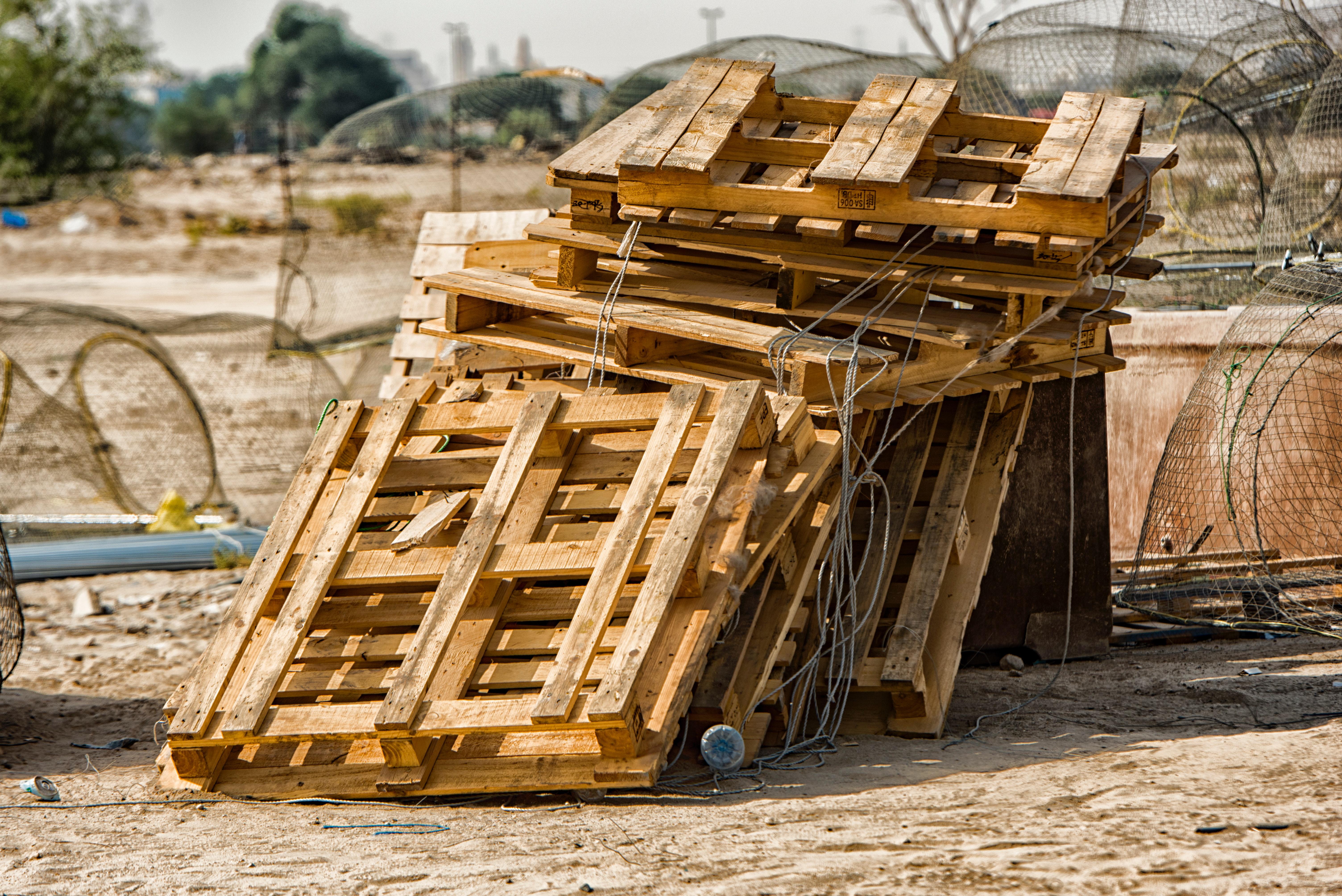 Brown wooden pallets photo