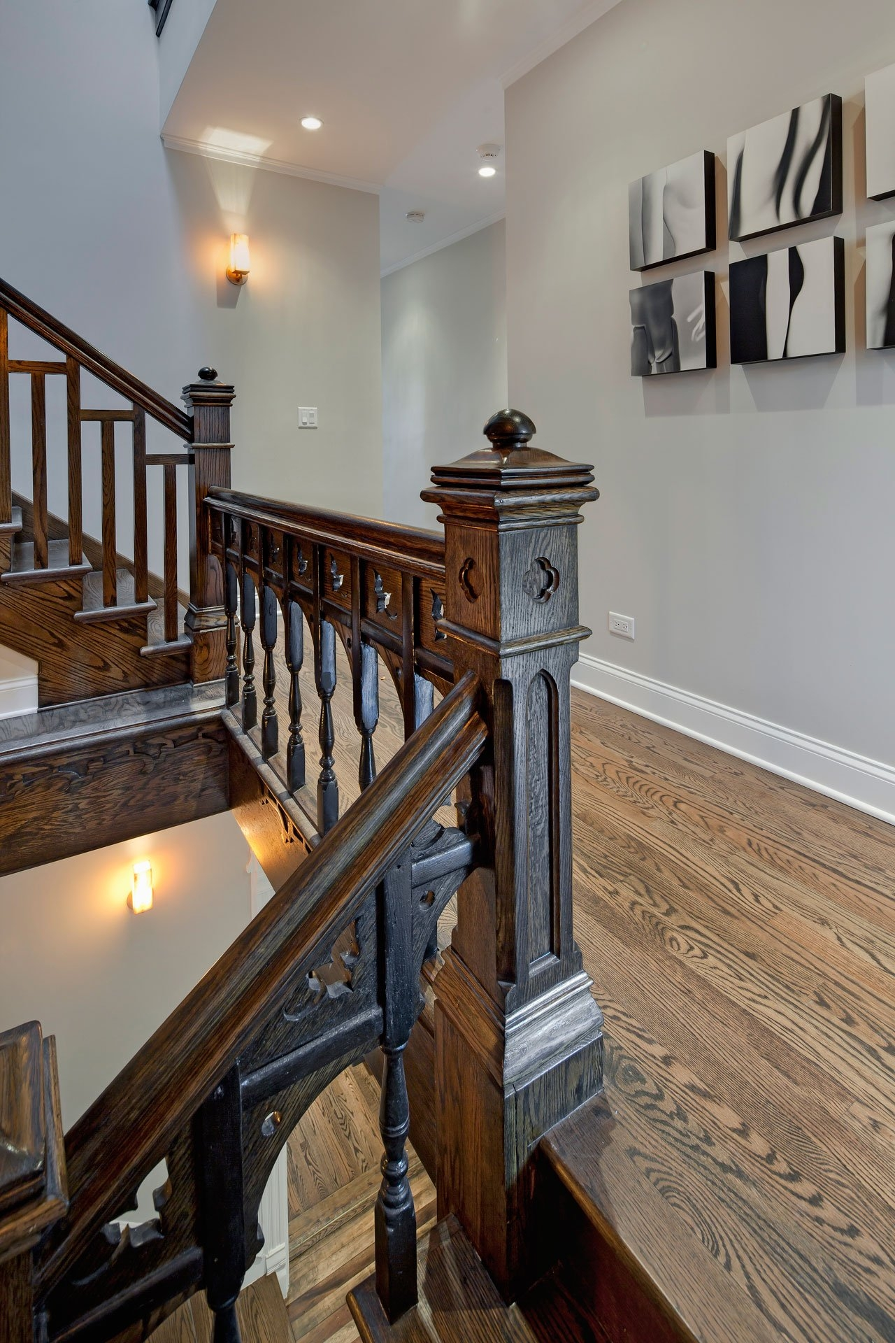 Interior Dark Brown Polished Wooden Staircase With Brown Wooden ...