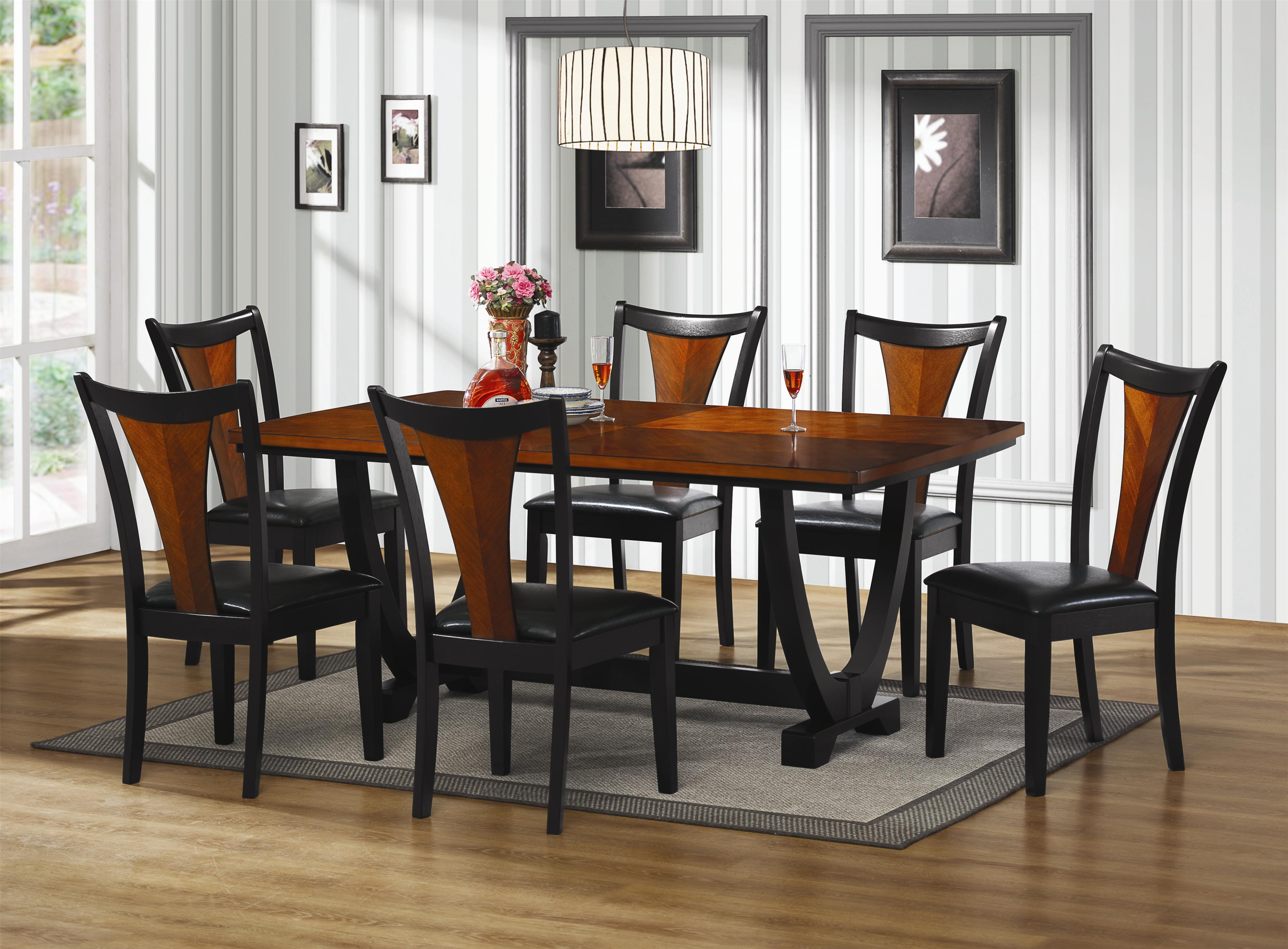 black wooden dining table with black leather seat cover and brown ...
