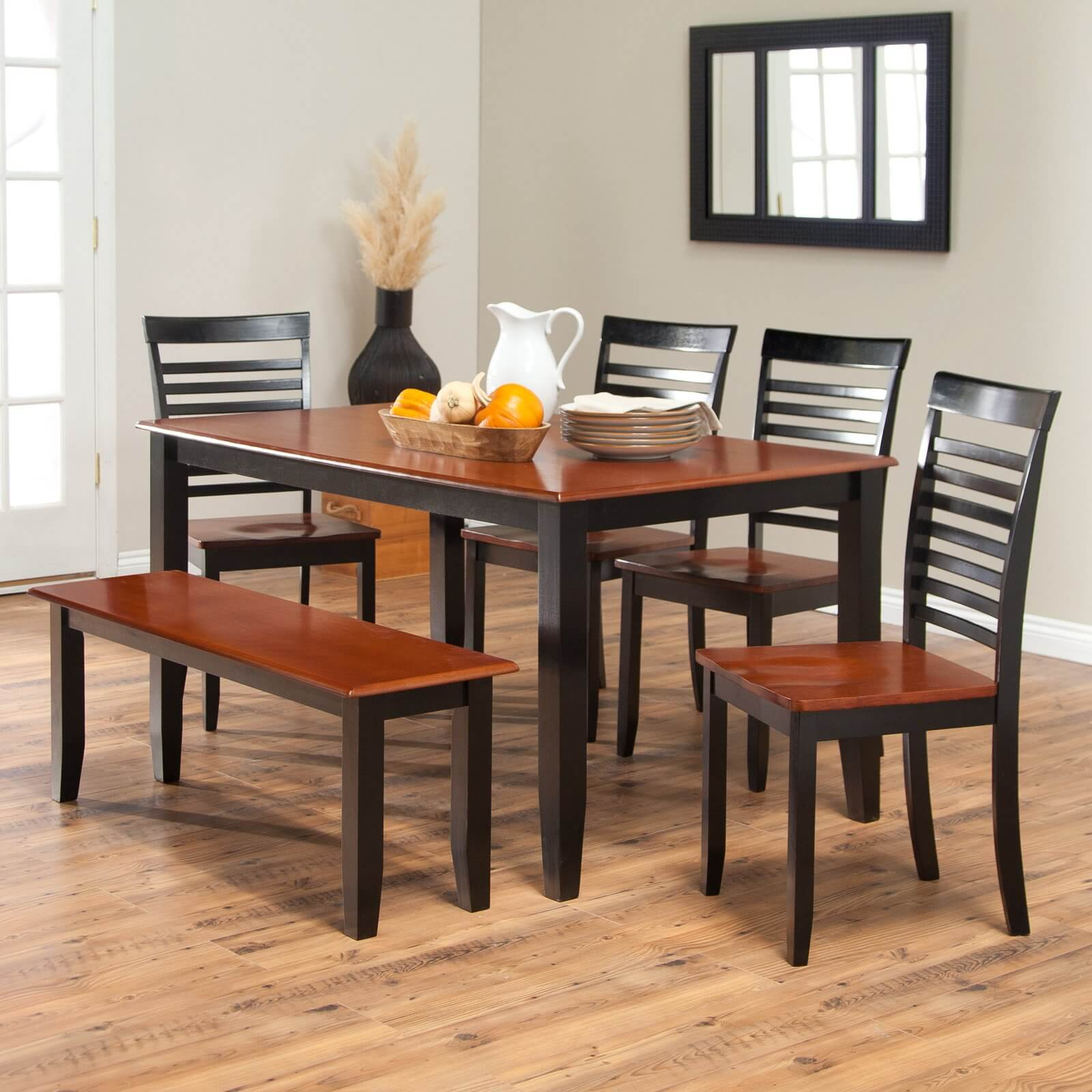 dining room: Dining Room Table With Bench Seats Black Brown Wooden ...