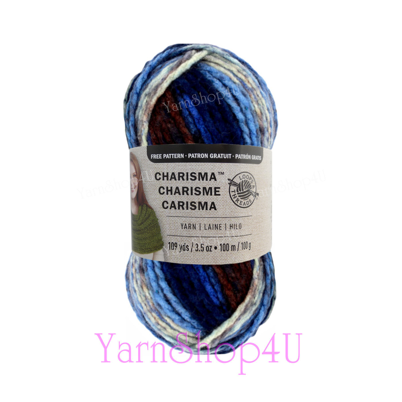 LAKESIDE Bulky Charisma Loops and Threads Yarn. This Blue, Brown ...