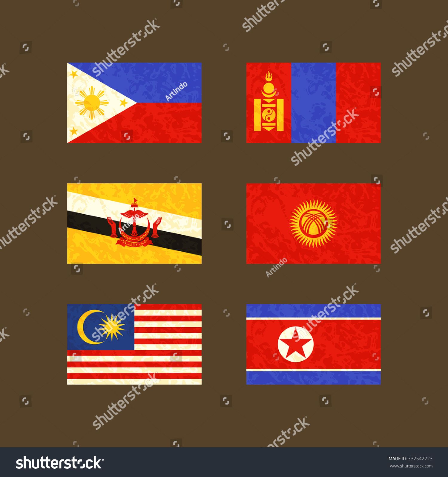 Flags Philippines Brunei Malaysia Mongolia Kyrgyzstan Stock Vector ...