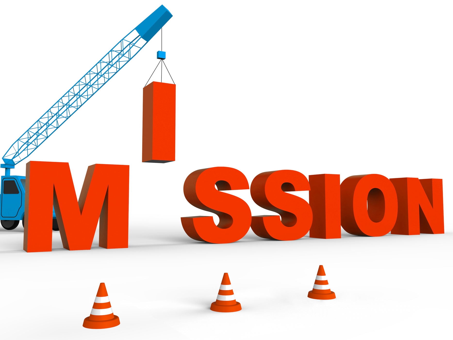Build Mission Indicates Leadership Aspirations And Strategy 3d Renderi, 3drendering, Motivation, Target, Strategy, HQ Photo