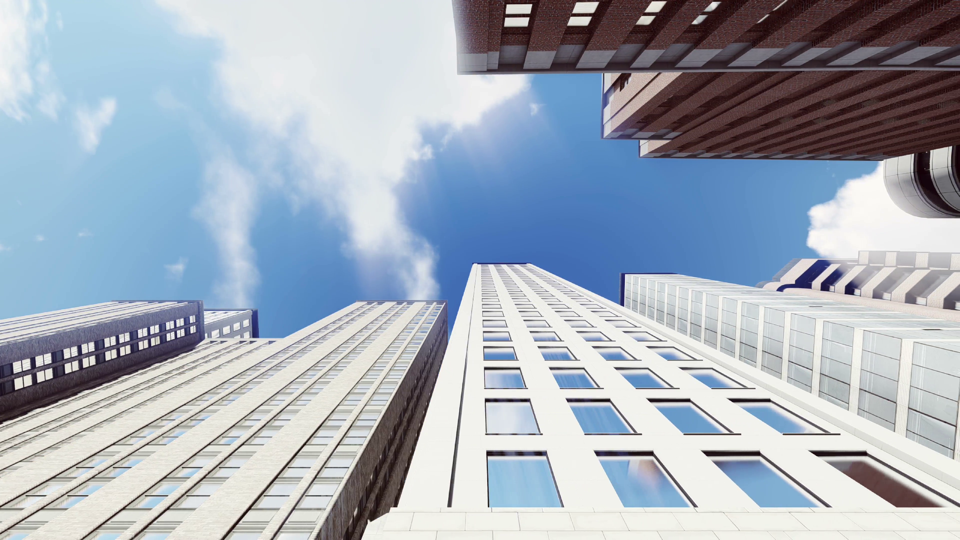High rise office buildings from bottom up view against blue sky with ...