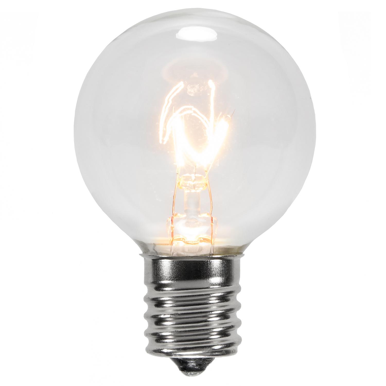 Christmas Lights - G40 Transparent Clear, 7 Watt Replacement Bulbs