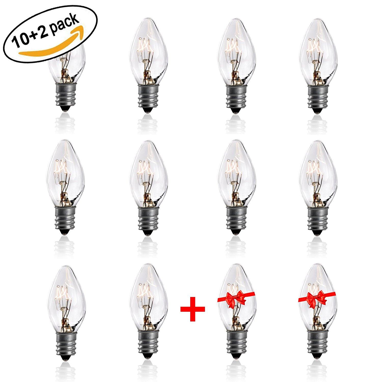 7 Watt Night Light Replacement Bulbs - 10 Pack + 2 FREE, Heavy Duty ...