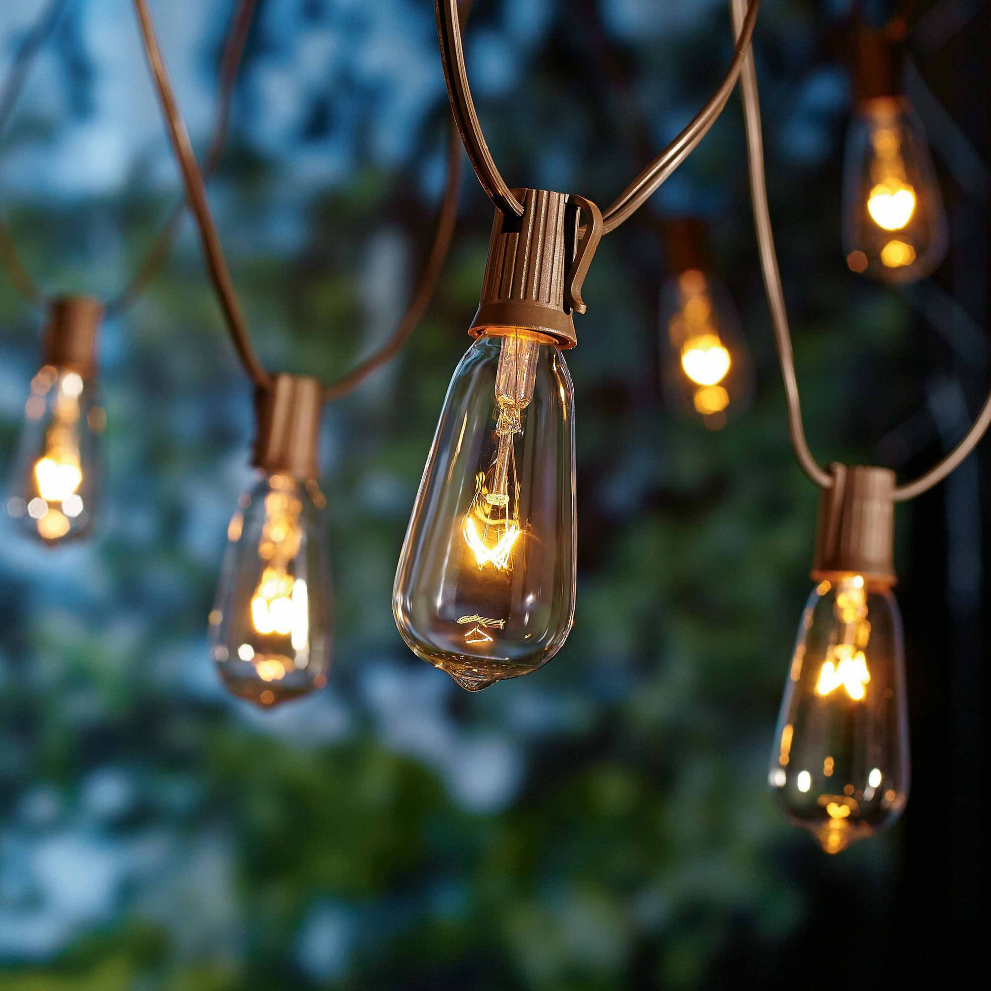 Better Homes and Gardens Outdoor Glass Edison String Lights, 10 ...