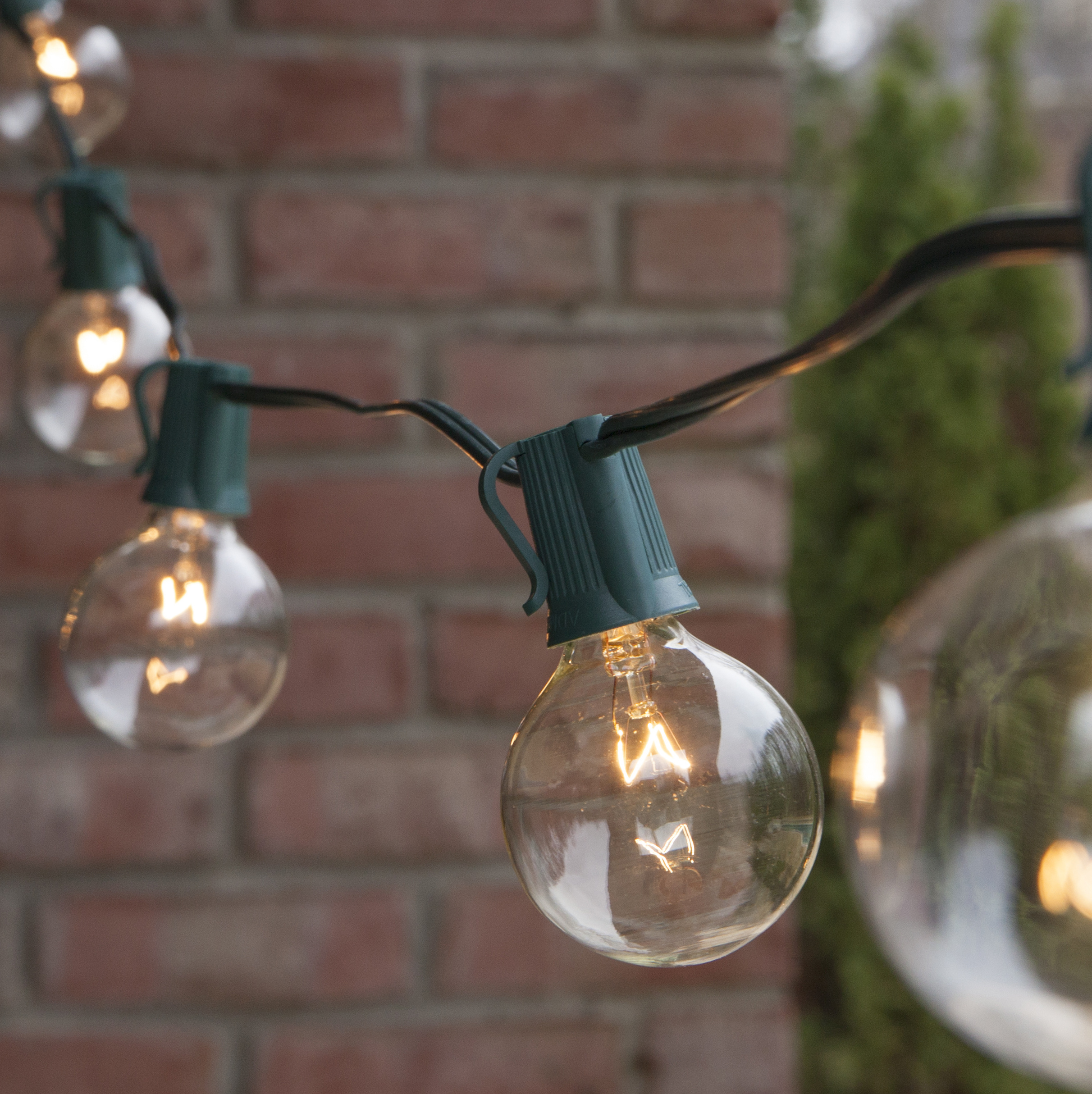 Patio Lights - Commercial Clear Globe String Lights, 33 G50 E17 ...