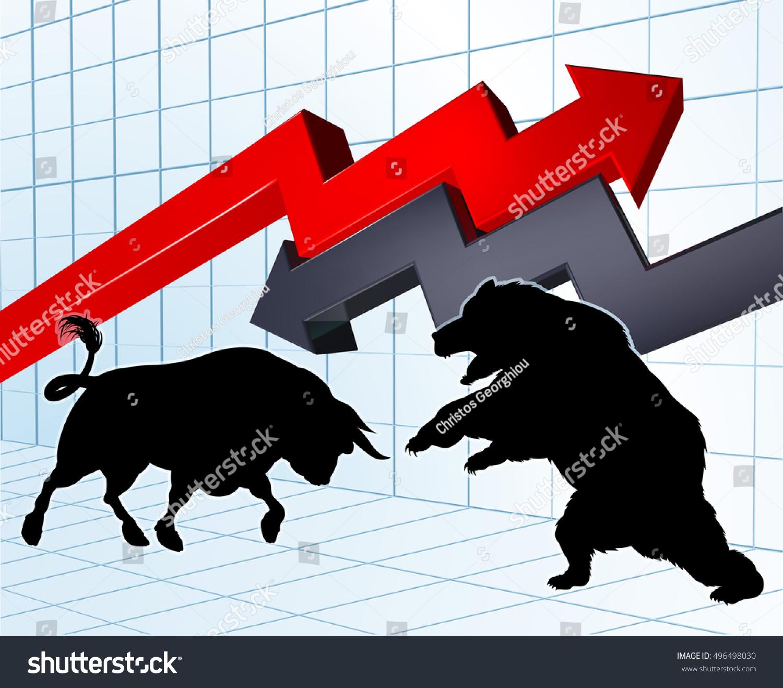 Bull Versus Bear Characters Silhouette Stock Stock Vector 496498030 ...