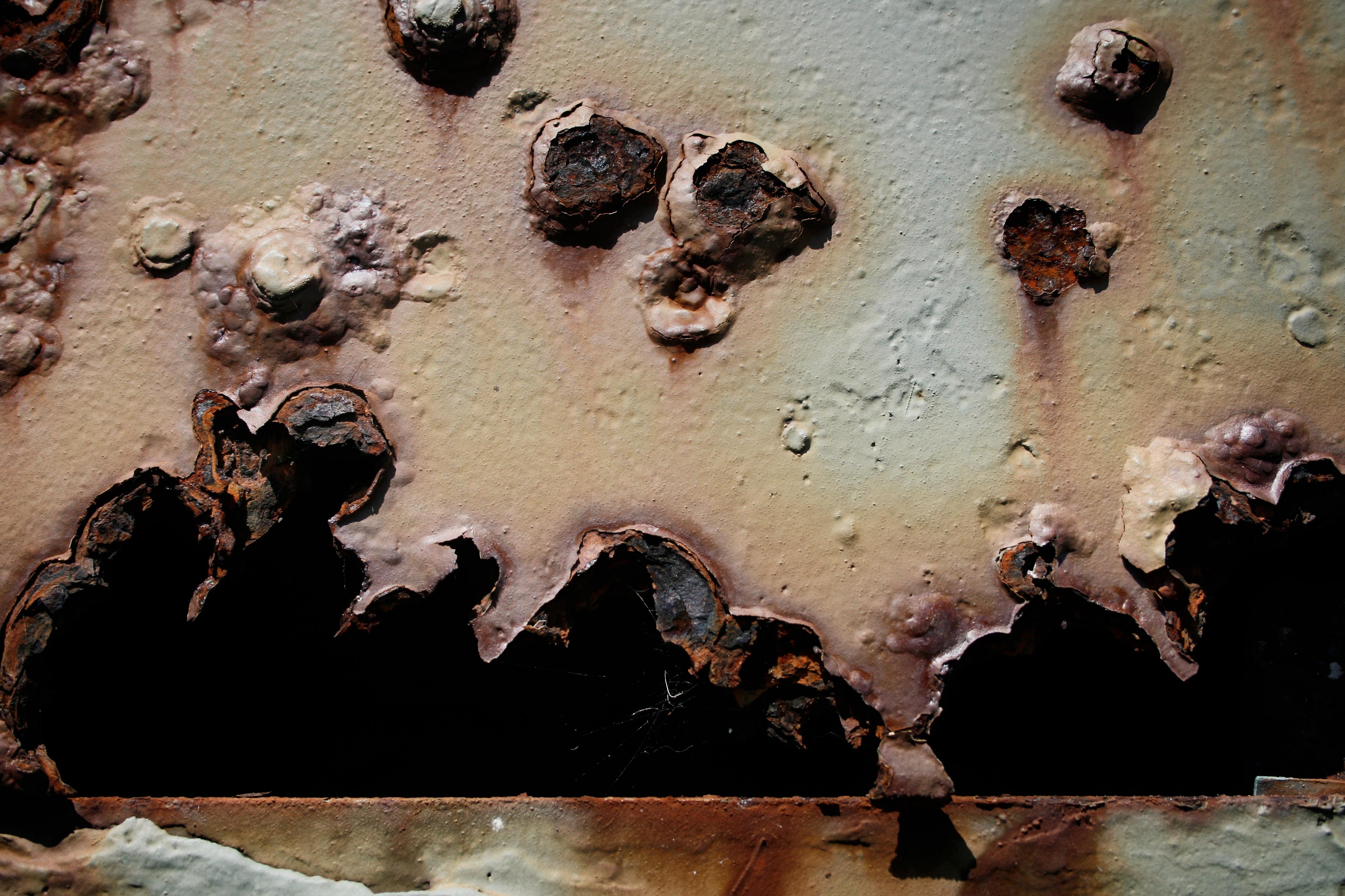 Bullet holes in metal photo