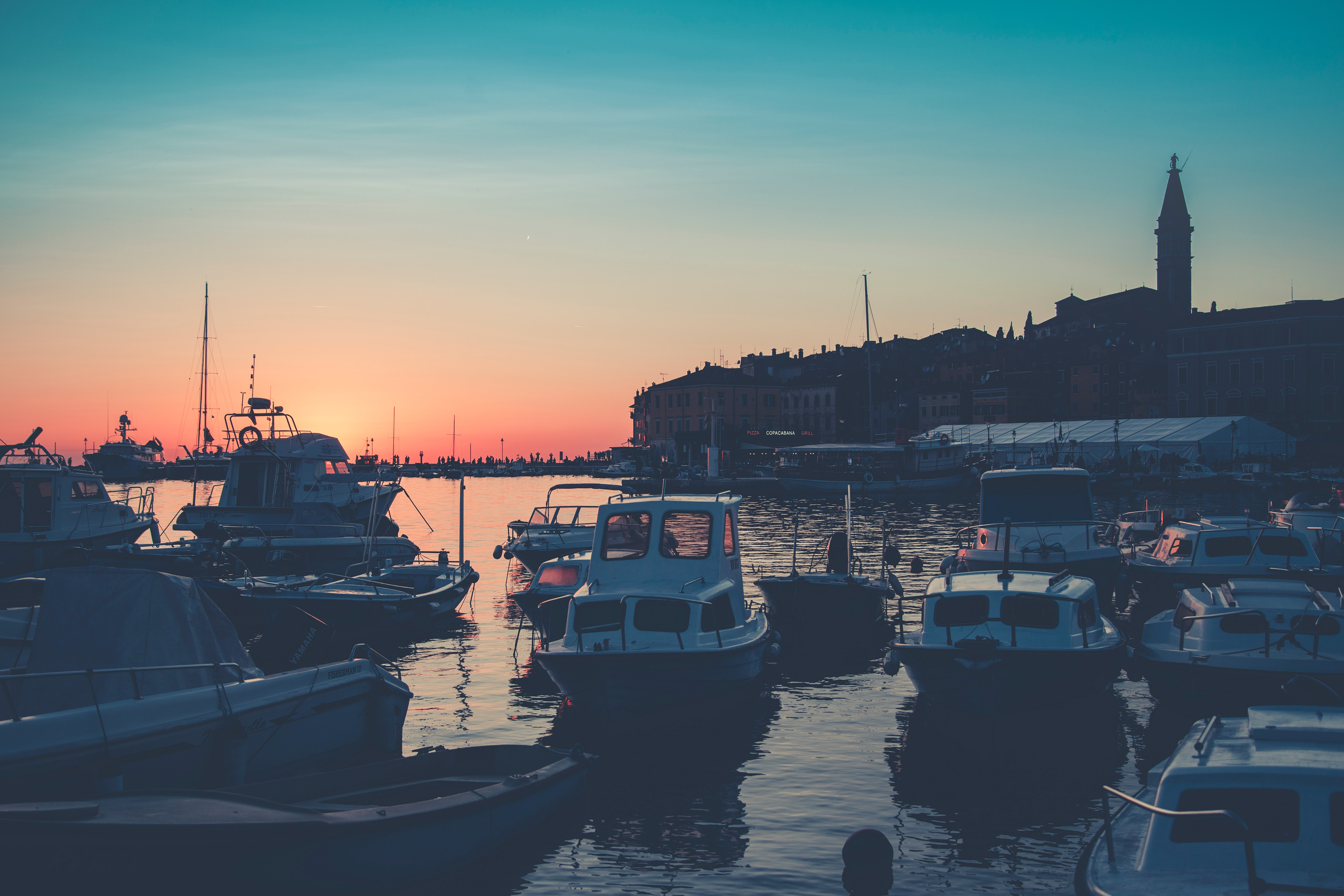 Bunch of Boats on Body of Water during Golden Hour, Bay, Tower, Seaport, Silhouette, HQ Photo