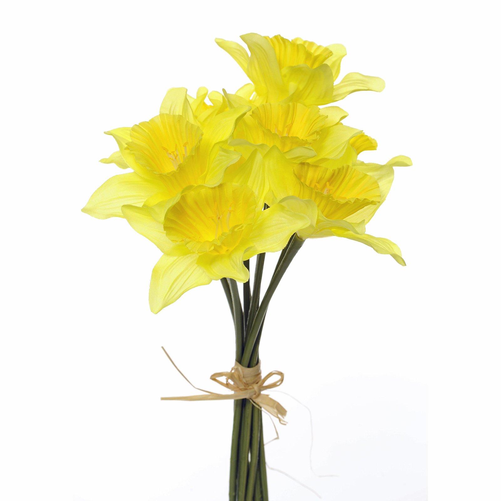 NEW Silk Daffodils Bunch 9 Stems Realistic Yellow Daff 5053882017050 ...