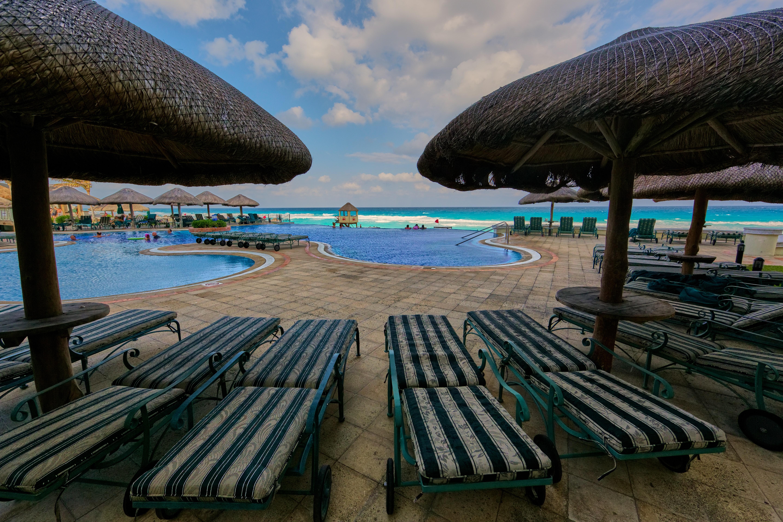 Bunch of Sun Lounger Near Pool, Beach, Resort, Vacation, Tropical, HQ Photo