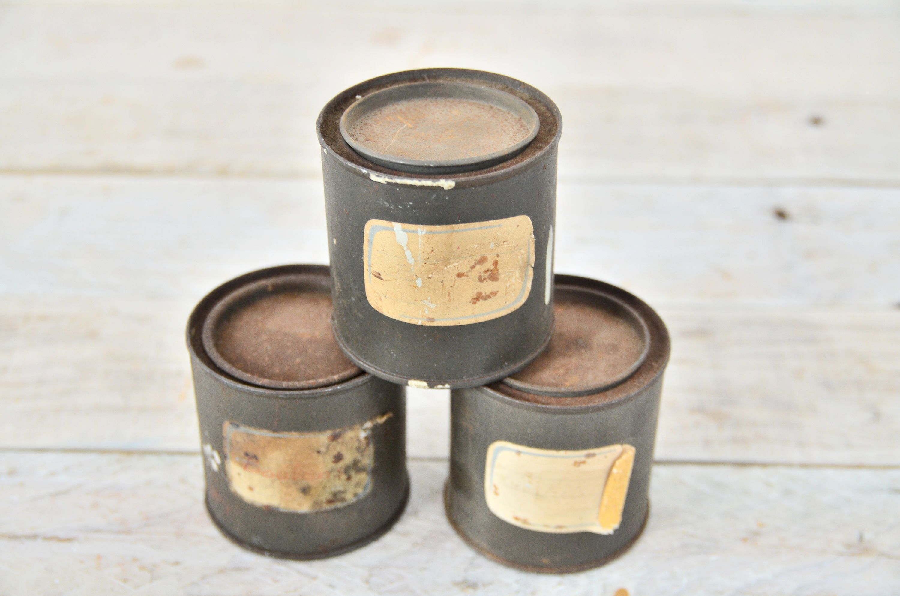 MILITARY TIN CAN - Lot of 3 Iron Box Industrial French Campaign ...